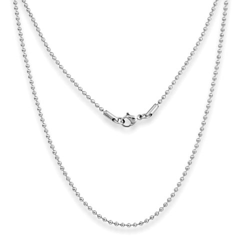 "Silvadore SSMC Chains 14"" / Velvet Pouch 2mm Ball Mens Necklace - Silver Chain Stainless Steel Jewellery (12)"