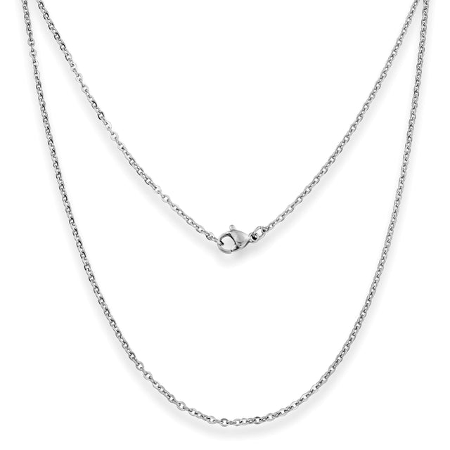"Silvadore SSMC Chains 14"" / Velvet Pouch 3mm Belcher Mens Necklace - Silver Chain Stainless Steel Jewellery (01)"