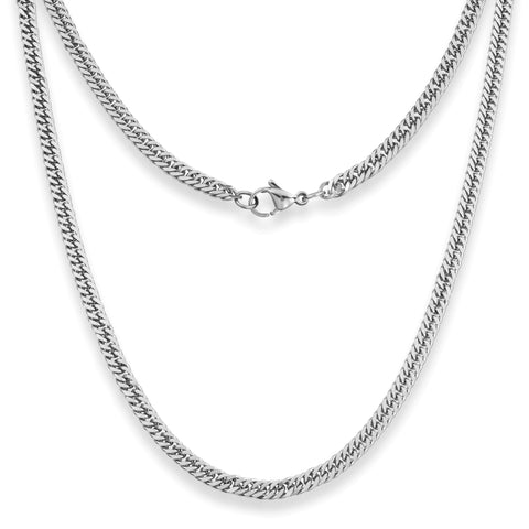 "Silvadore SSMC Chains 14"" / Velvet Pouch 4mm Curb Mens Necklace - Silver Chain Stainless Steel Jewellery (06)"