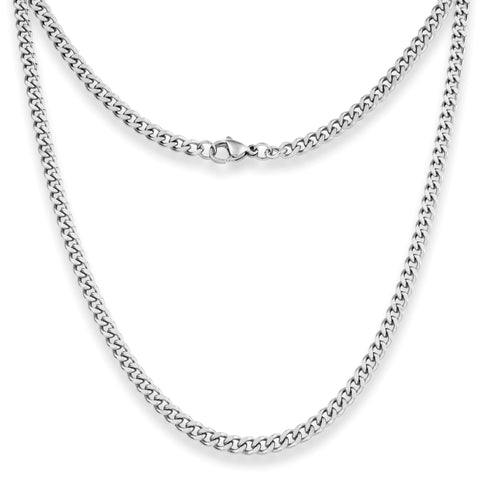 "Silvadore SSMC Chains 14"" / Velvet Pouch 4mm Curb Mens Necklace - Silver Chain Stainless Steel Jewellery (08)"