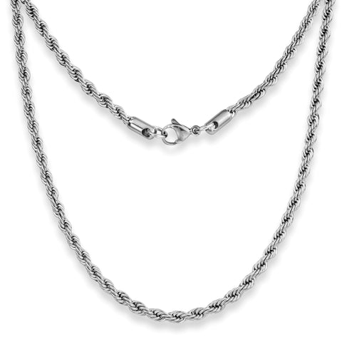 "Silvadore SSMC Chains 14"" / Velvet Pouch 4mm Twist Rope Mens Necklace - Silver Chain Stainless Steel Jewellery (04)"
