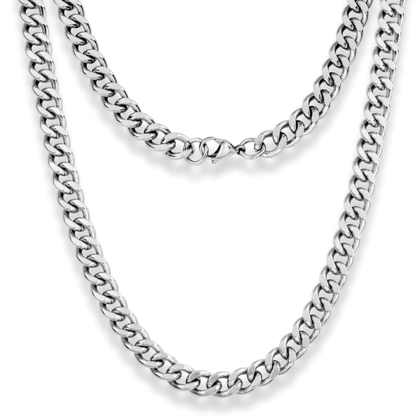 "Silvadore SSMC Chains 18"" / Velvet Pouch 9mm Curb Mens Necklace - Silver Chain Stainless Steel Jewellery (09)"
