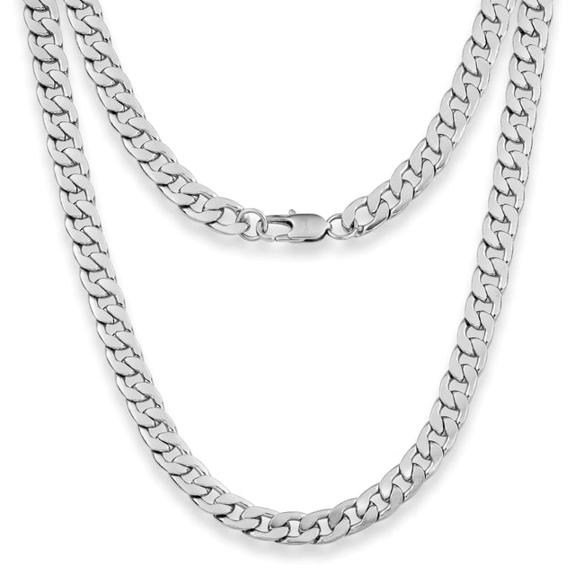 "Silvadore SSMC Chains 18"" / Velvet Pouch 9mm Flat Curb Mens Necklace - Silver Chain Stainless Steel Jewellery (07)"