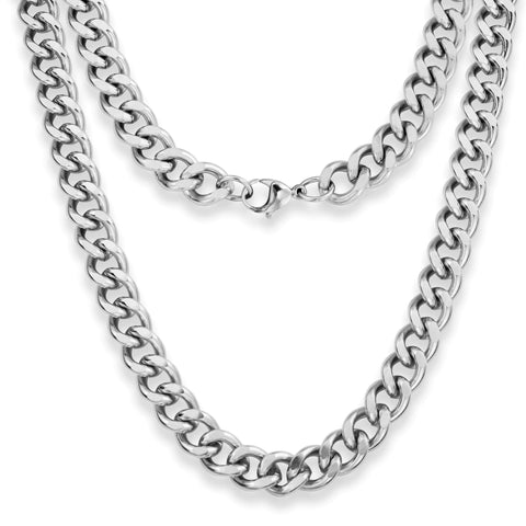 "Silvadore SSMC Chains 20"" / Velvet Pouch 12mm Chunky Curb Mens Necklace - Silver Chain Stainless Steel Jewellery (10)"