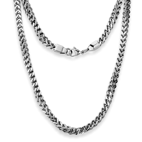 "Silvadore SSMC Chains 20"" / Velvet Pouch 6mm 3D Mechanical Mens Necklace - Silver Chain Stainless Steel Jewellery (02)"