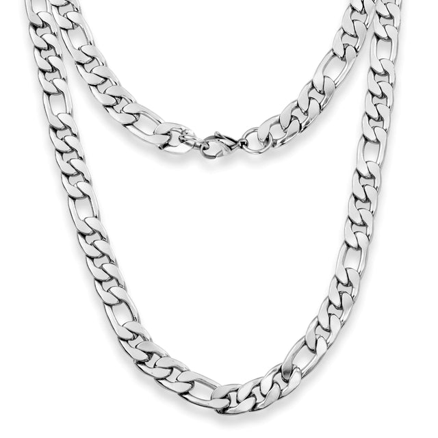 "Silvadore SSMC Chains 20"" / Velvet Pouch 9mm Figaro Mens Necklace - Silver Chain Stainless Steel Jewellery (05)"