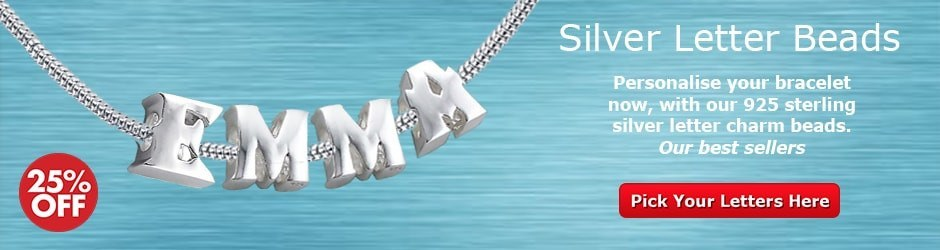 Sterling Silver letter Initial Charm Beads