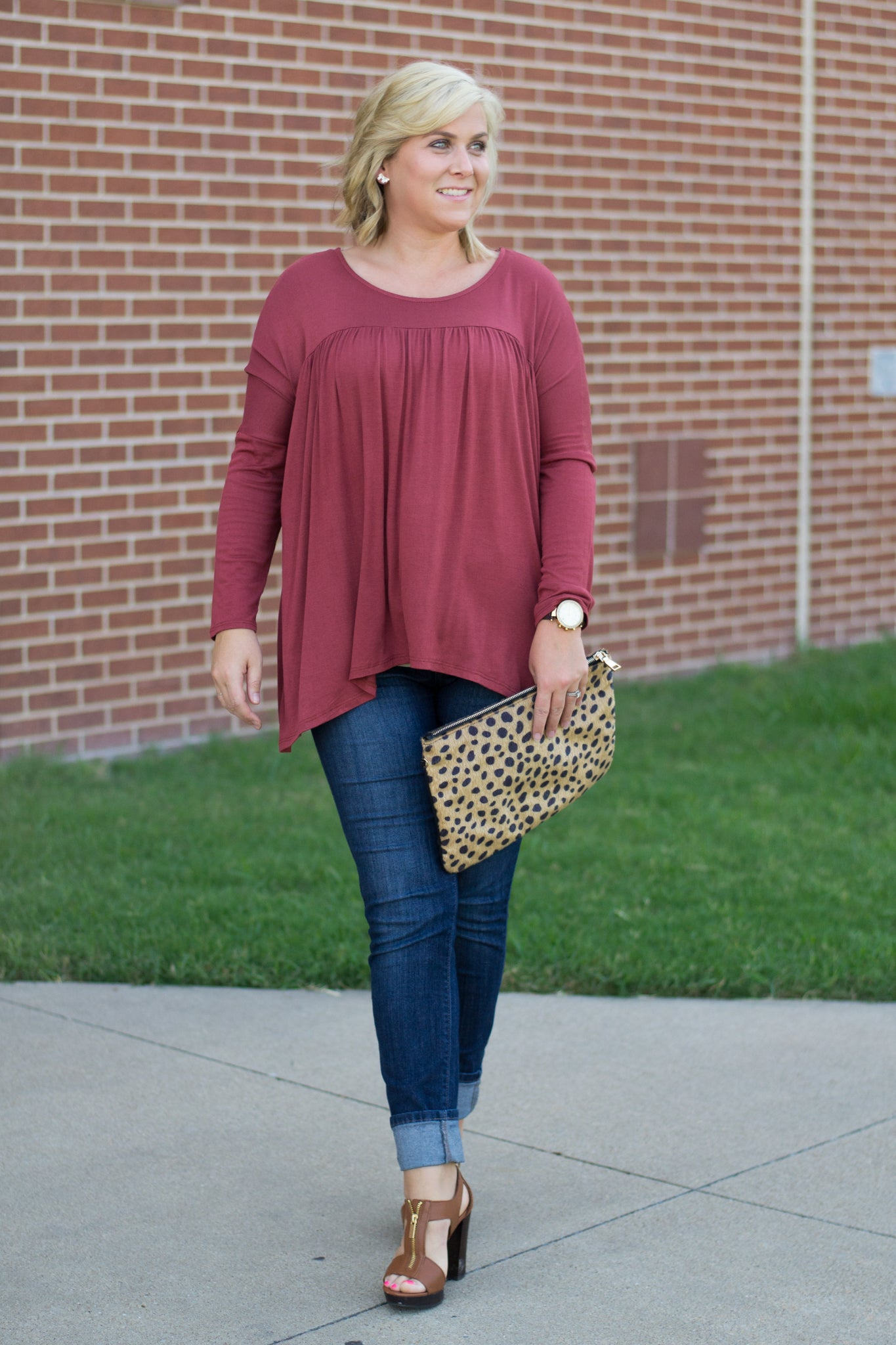 Fall Babydoll Top and Skinny Jeans