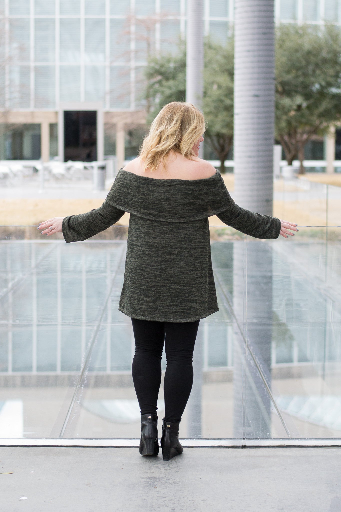 Long Off the Shoulder Sweater and leggings