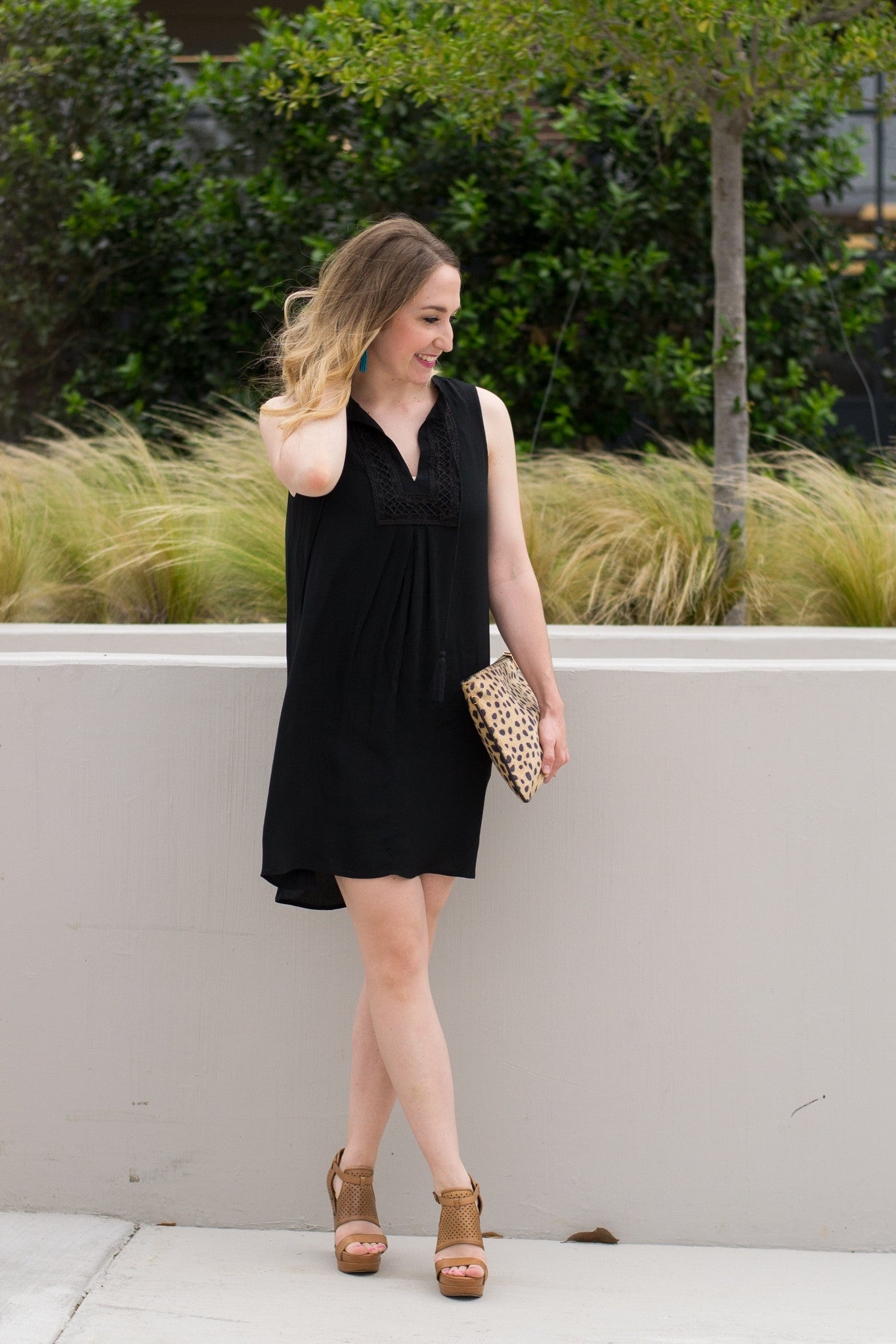 Sleeveless Black Summer Dress with Tassels