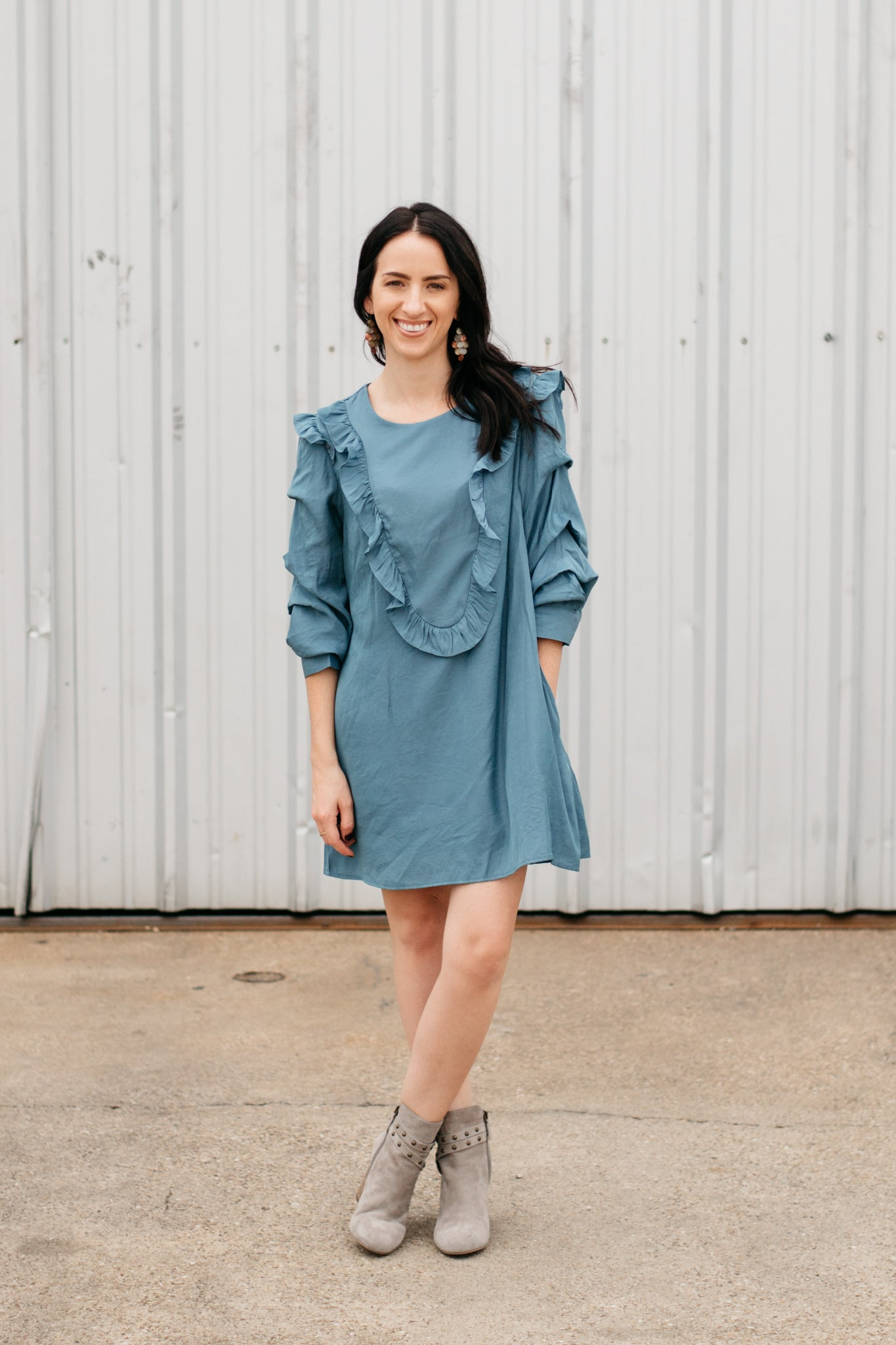 Silk Dress with Ruffle Front and Sleeve