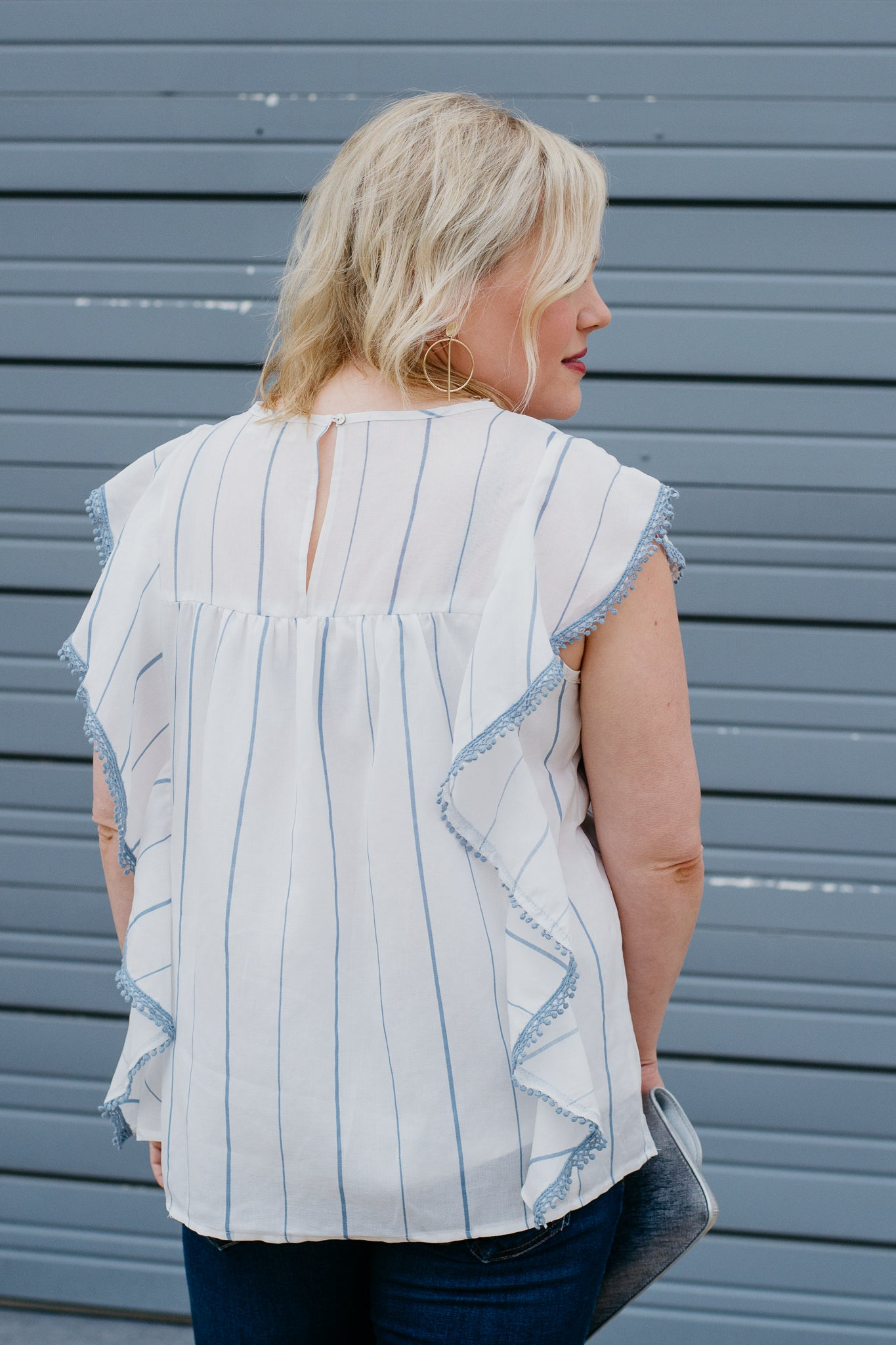 White and Blue Stripe with Ruffle Detail