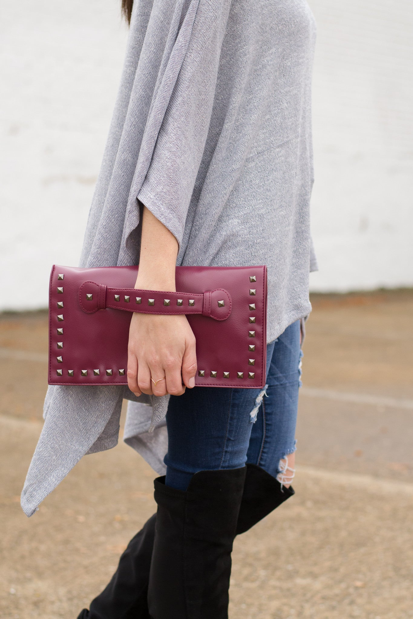 Burgundy Clutch with Metal Hardware Detailing
