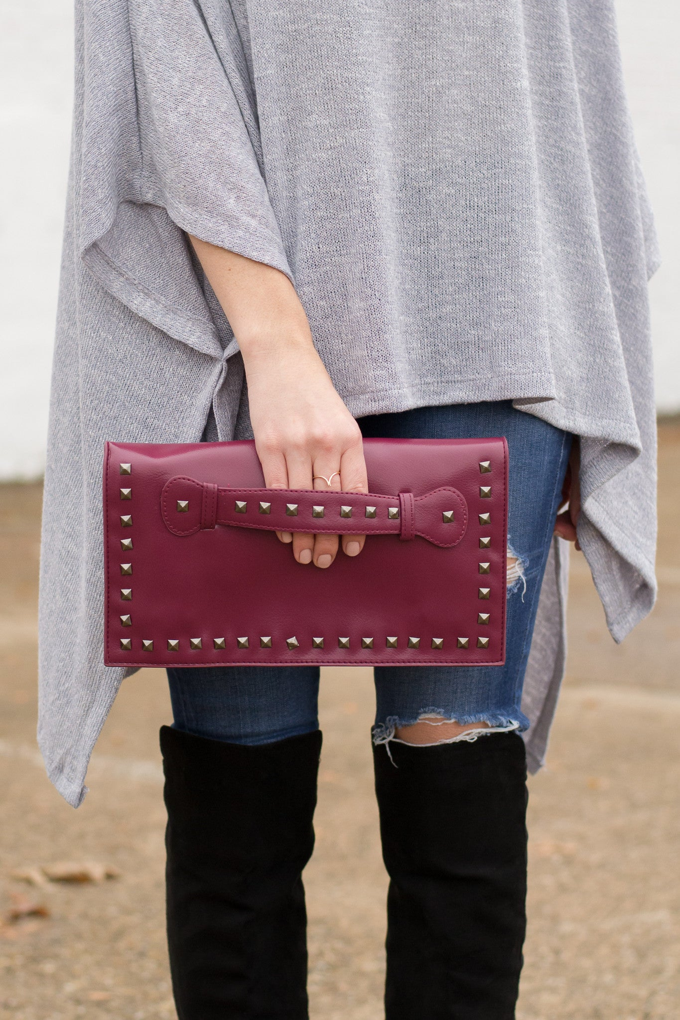 Edgy Burgundy Clutch styled with OTK Boots
