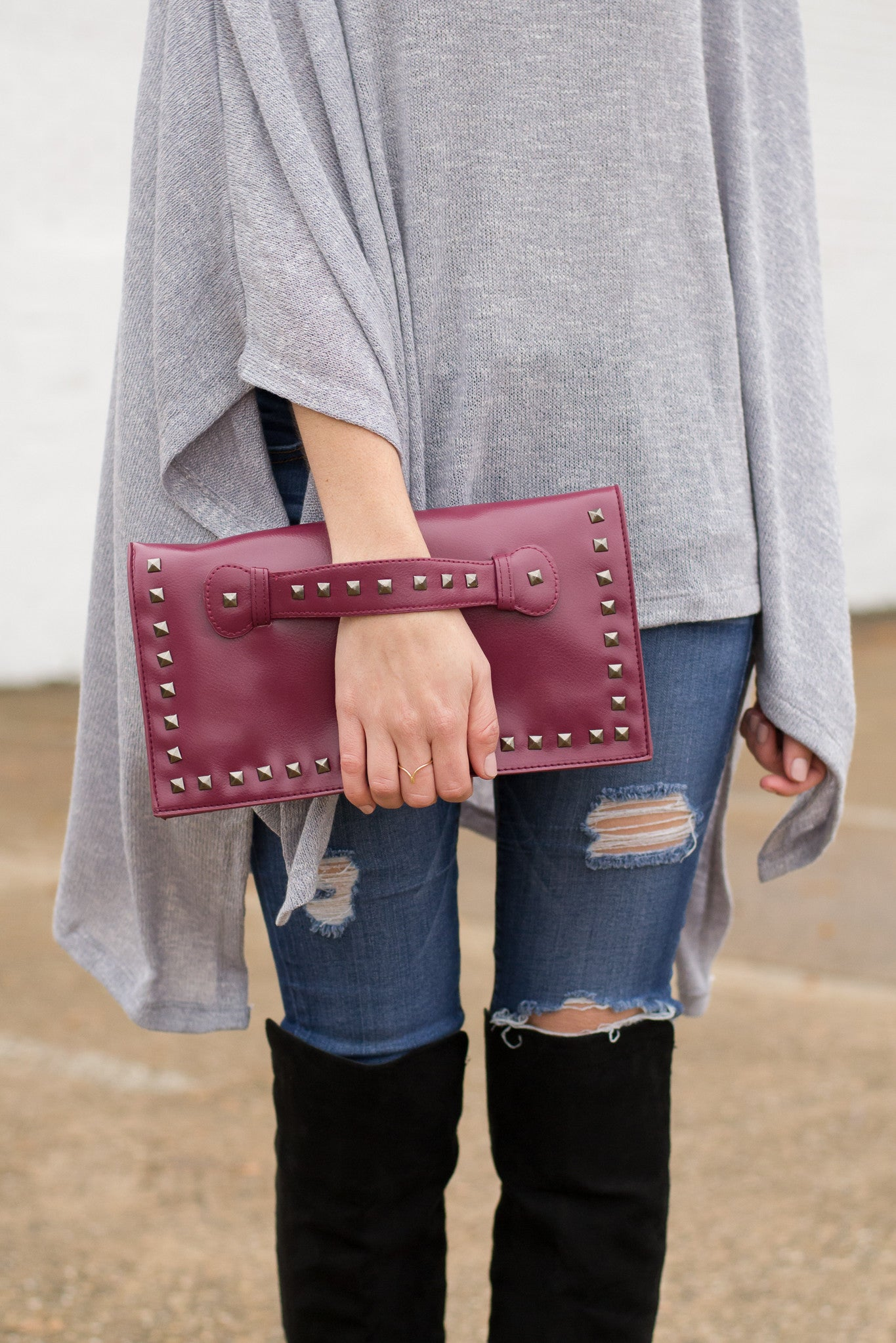 Burgundy Clutch with Slip Through Hand Strap