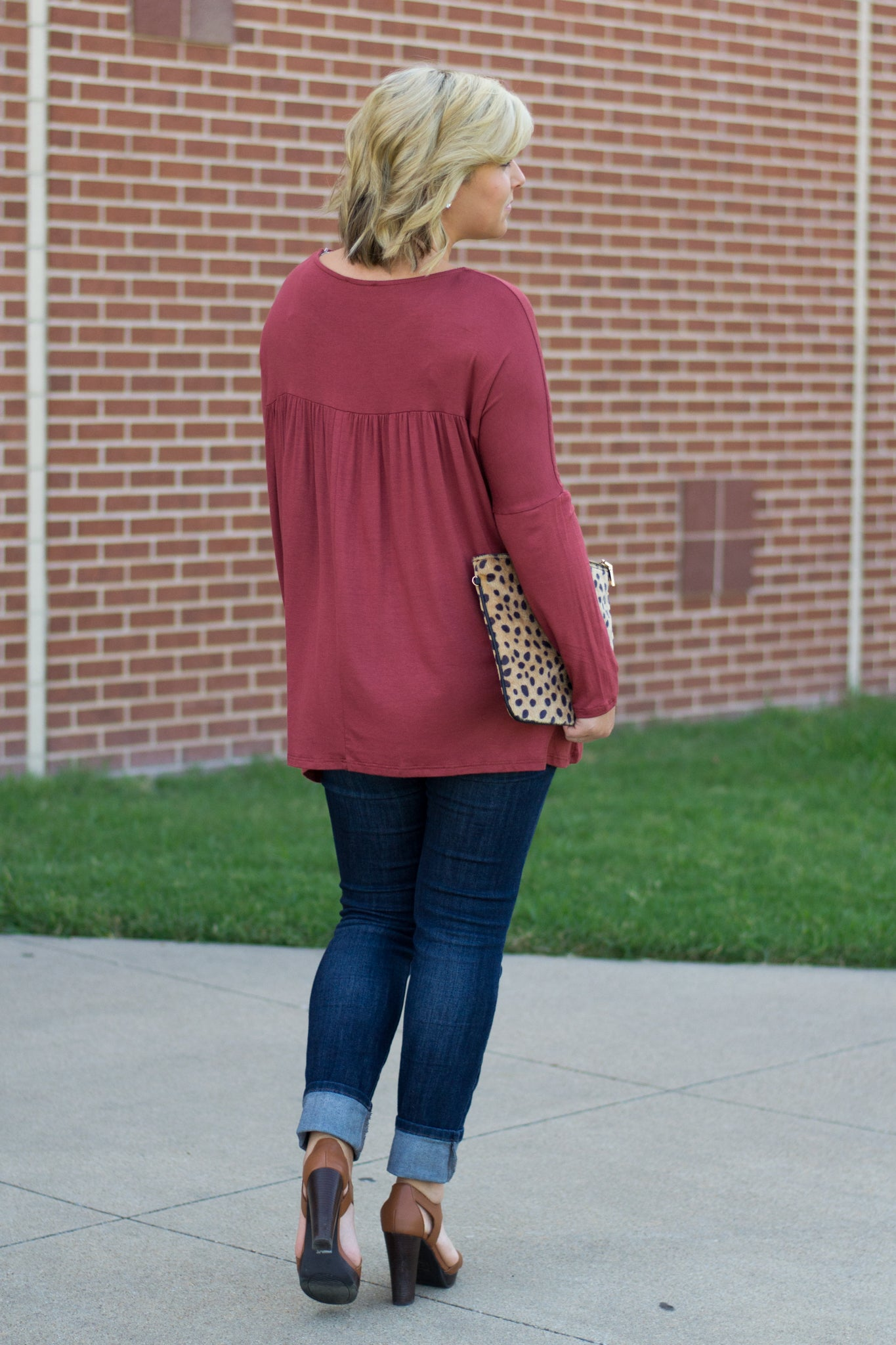 Fall Babydoll Top and Leopard Clutch