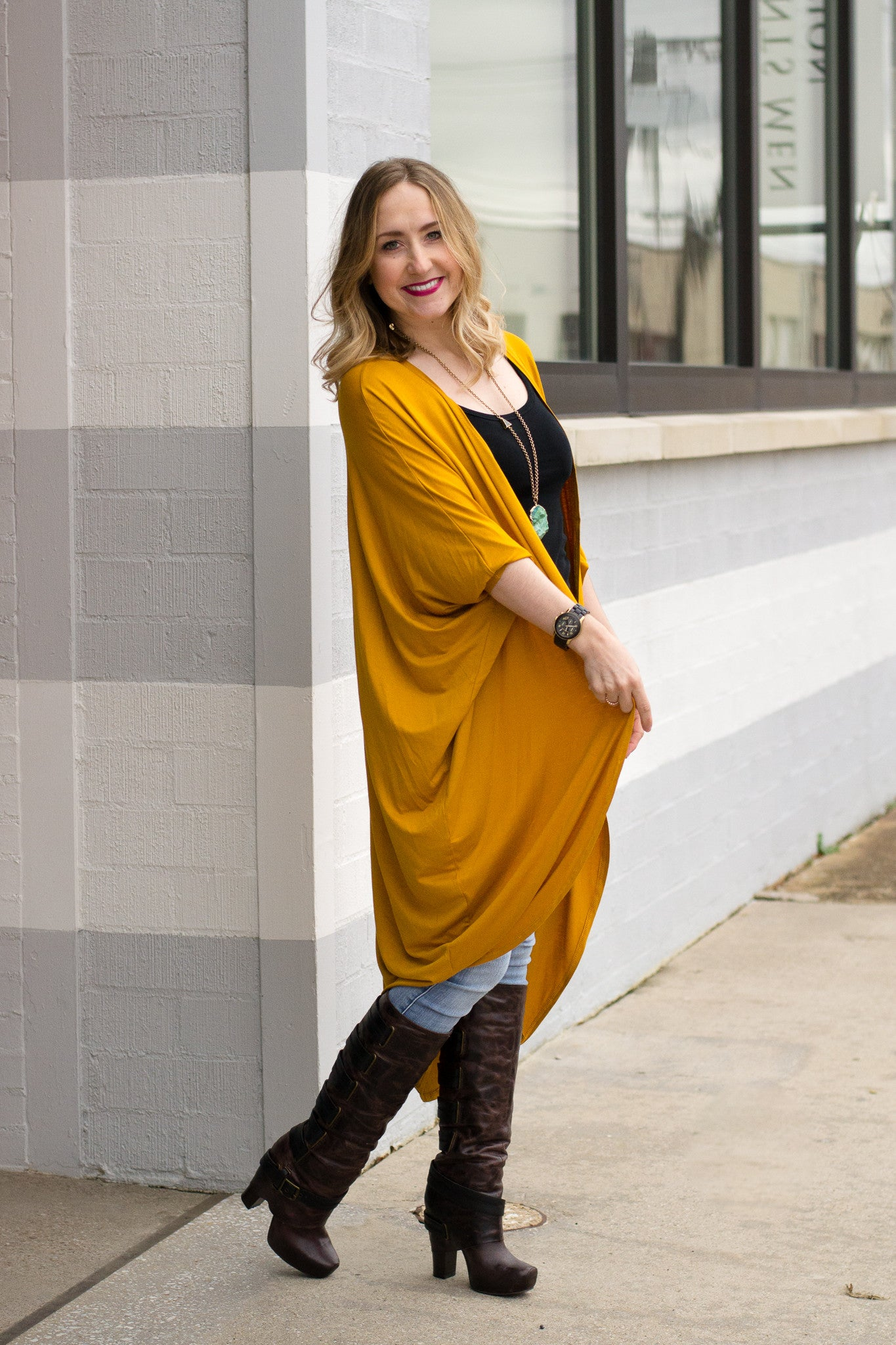 Long cocoon cardigan in mustard