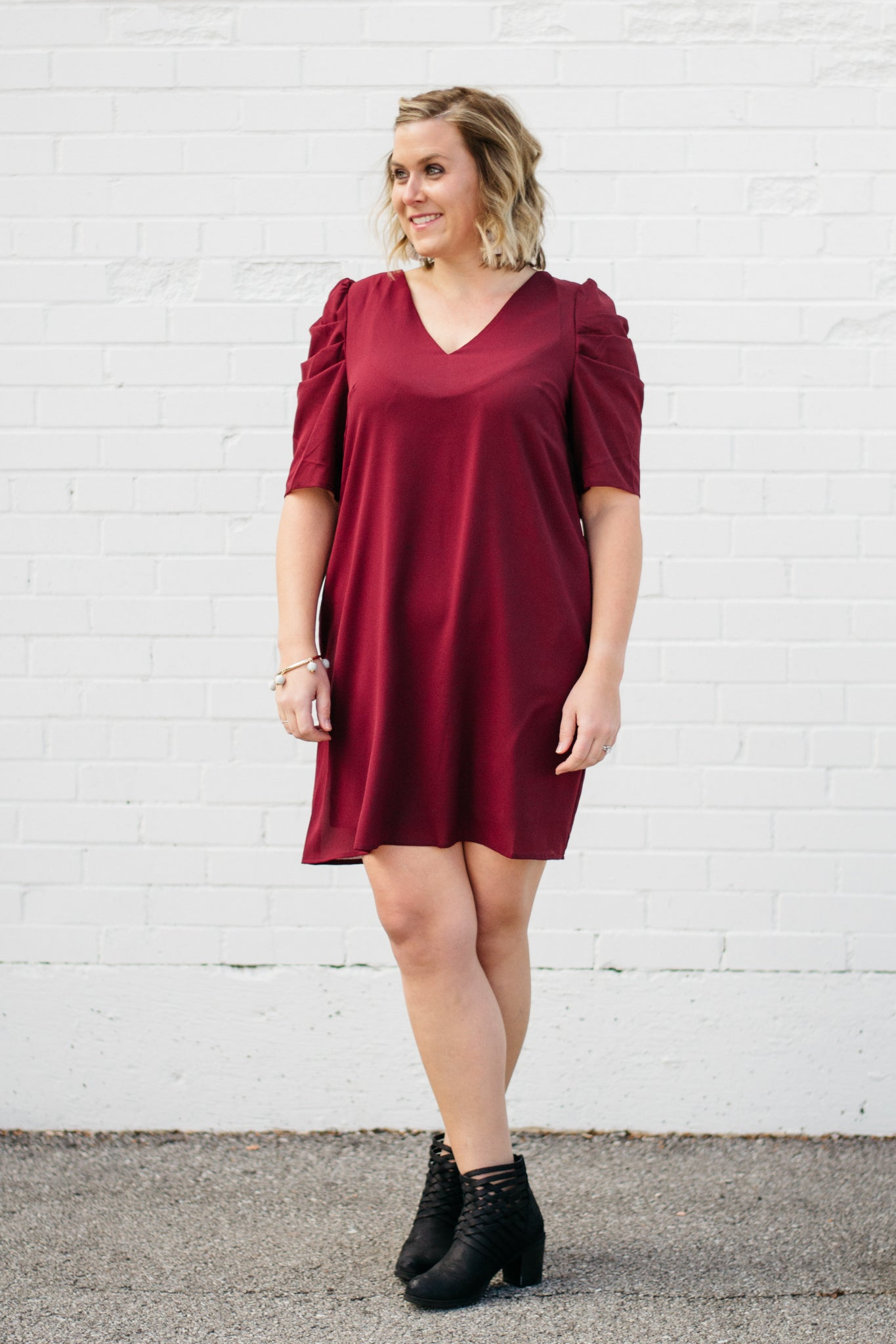 Fall V Neck Dress with Ruffle Sleeve Detail