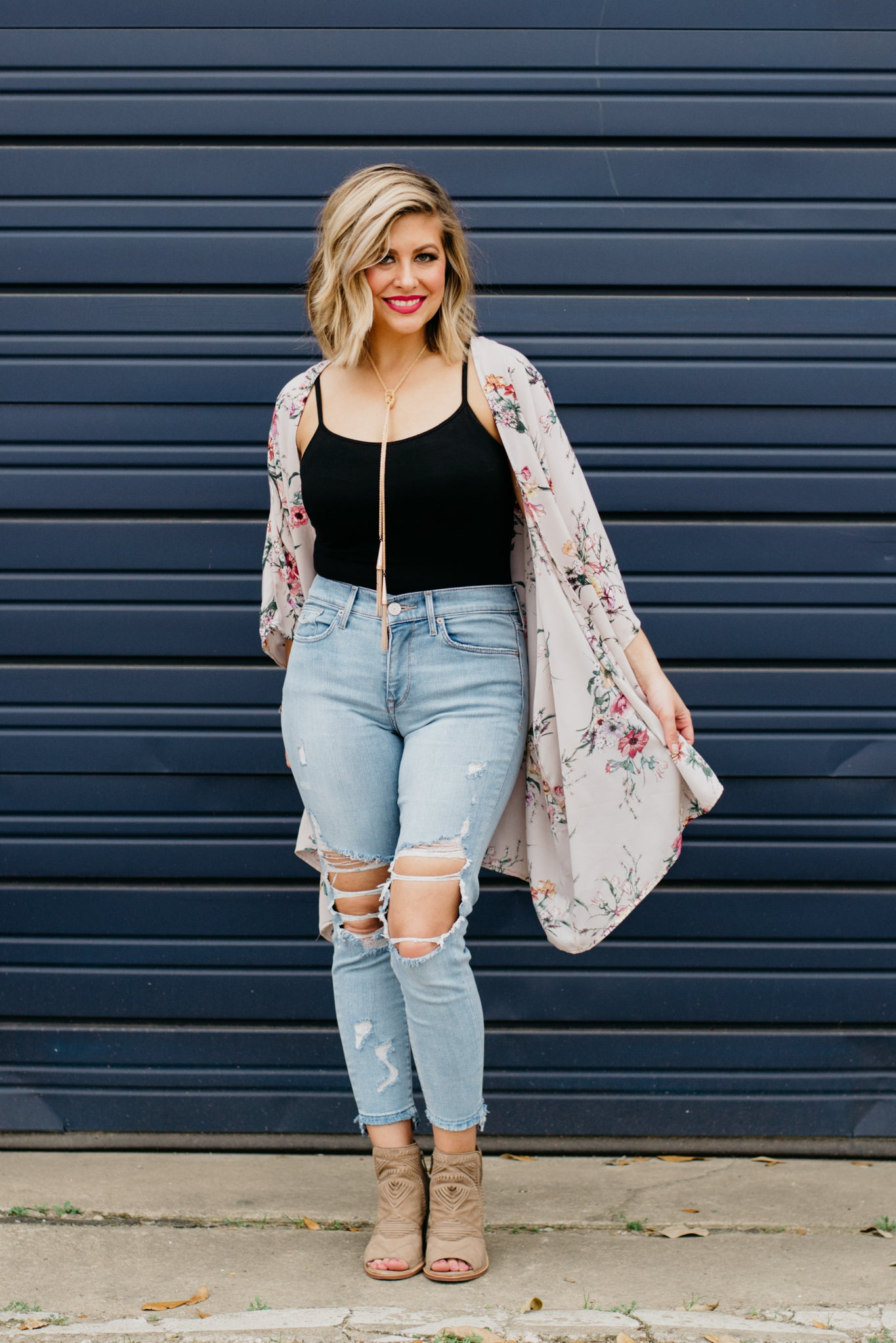 Spring Floral Kimono with black camisole and gold tassel necklace