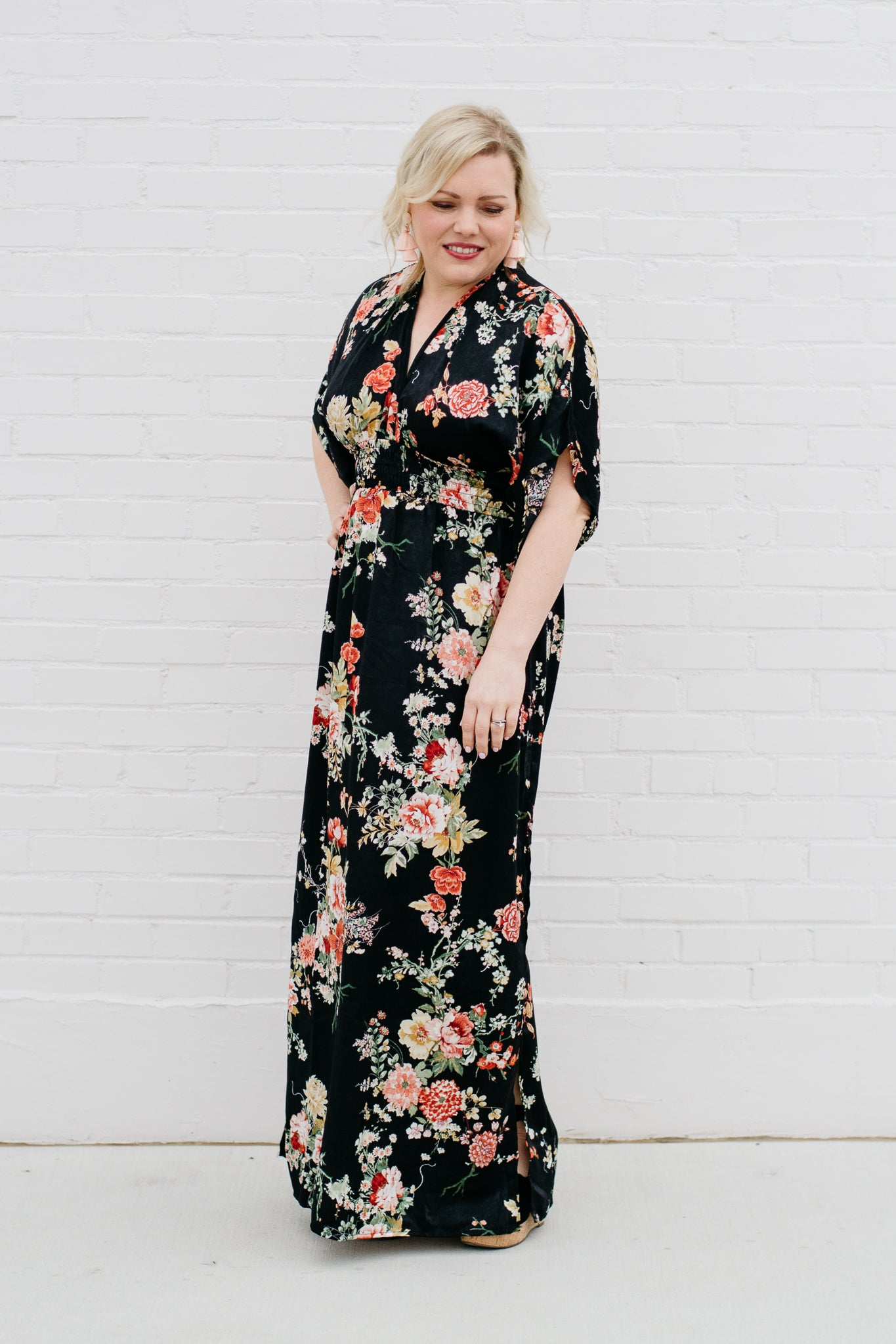 Floral maxi dress with kimono sleeves