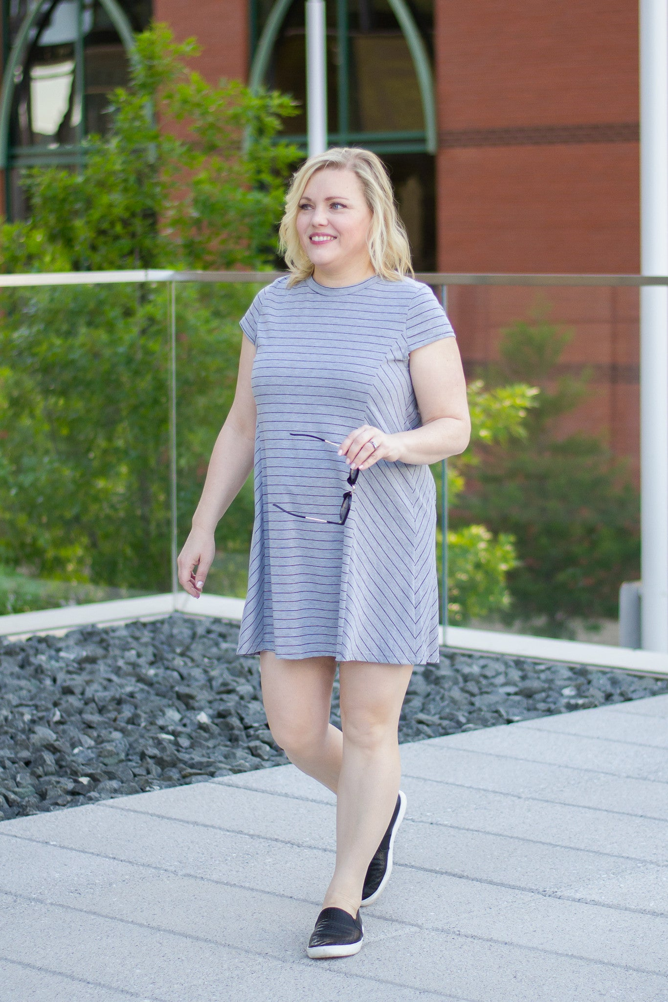 Simple Gray and Black Striped Dress for Summer
