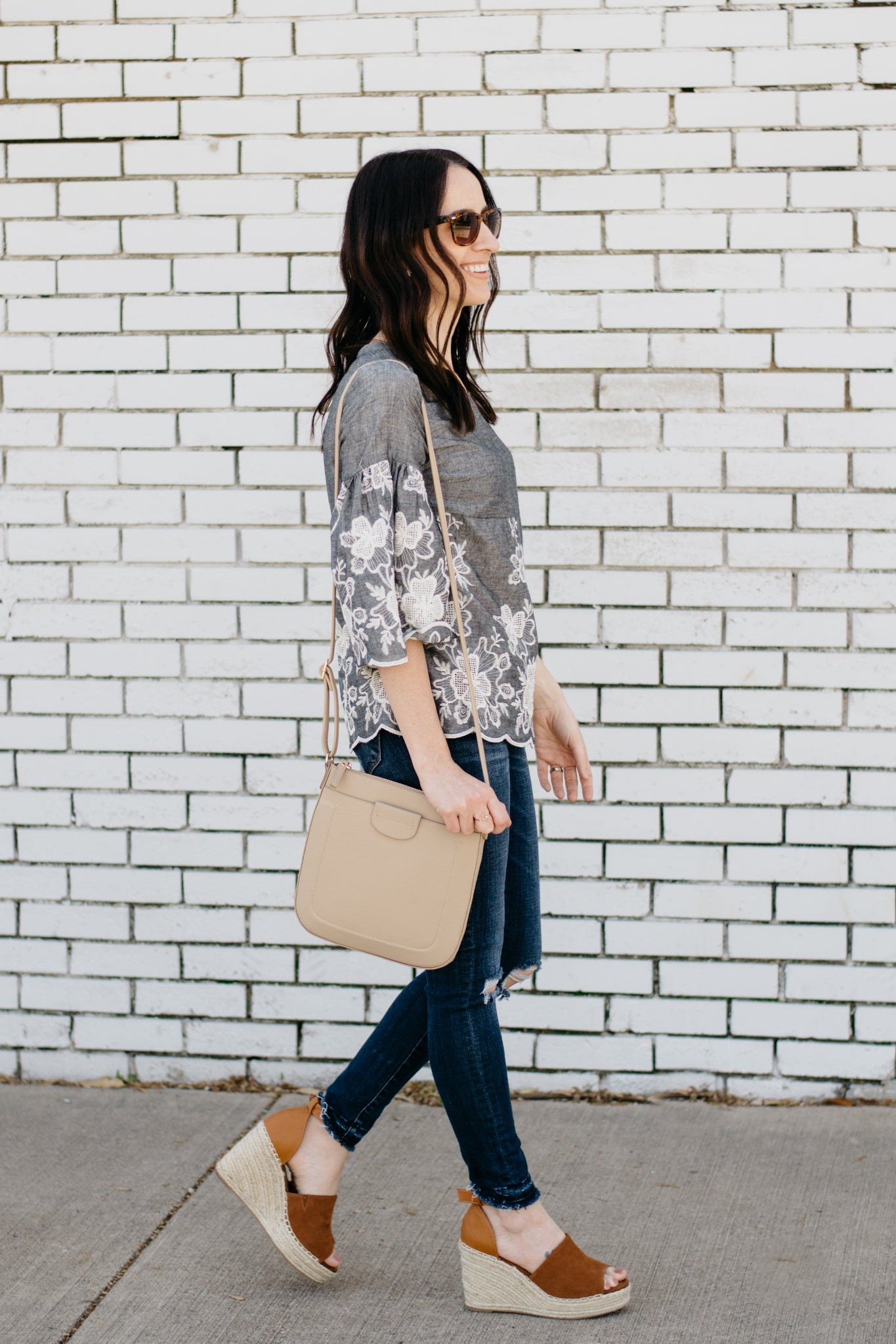 Gray Blouse with White Floral Embroidery