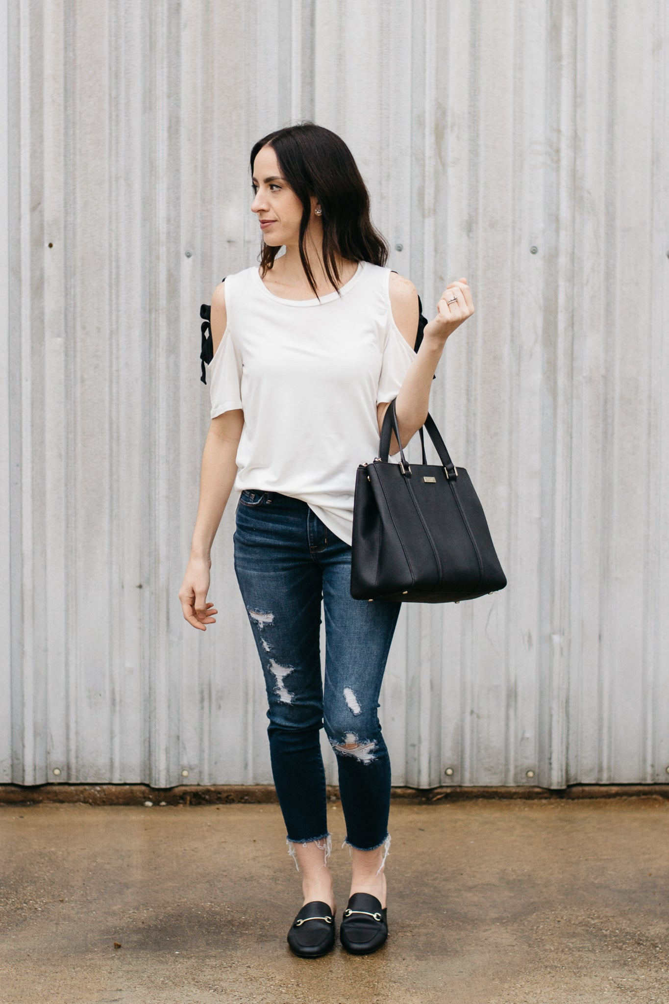 White Basic Tee with Black Tie Sleeves