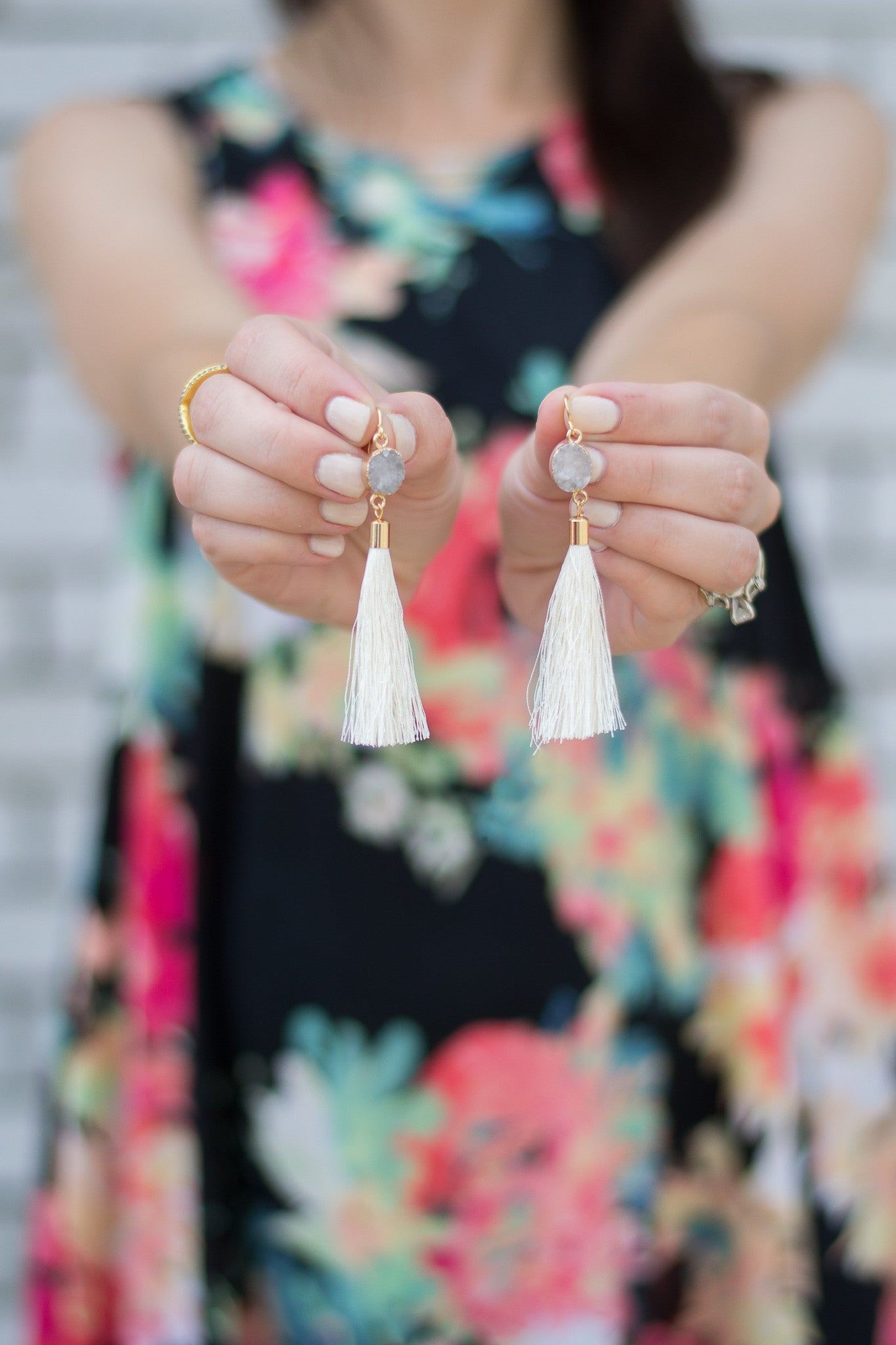Gray Stone and Ivory Tassel Earrings