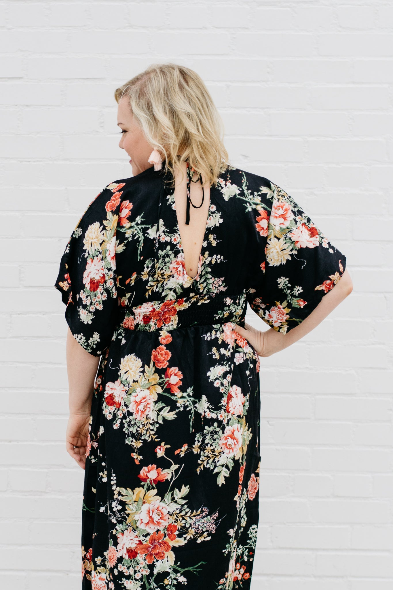 Floral print maxi dress with keyhole tie back
