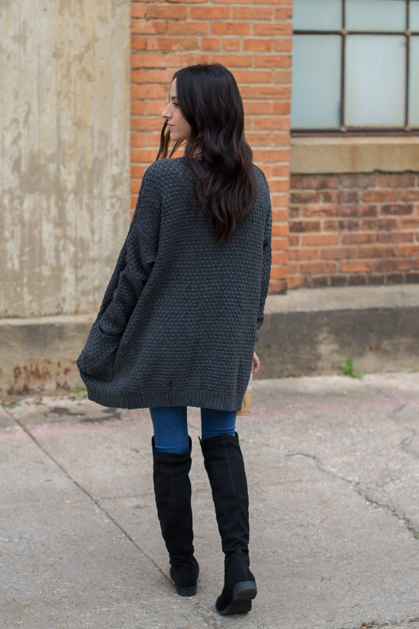 Oversized Gray Knit Cardigan