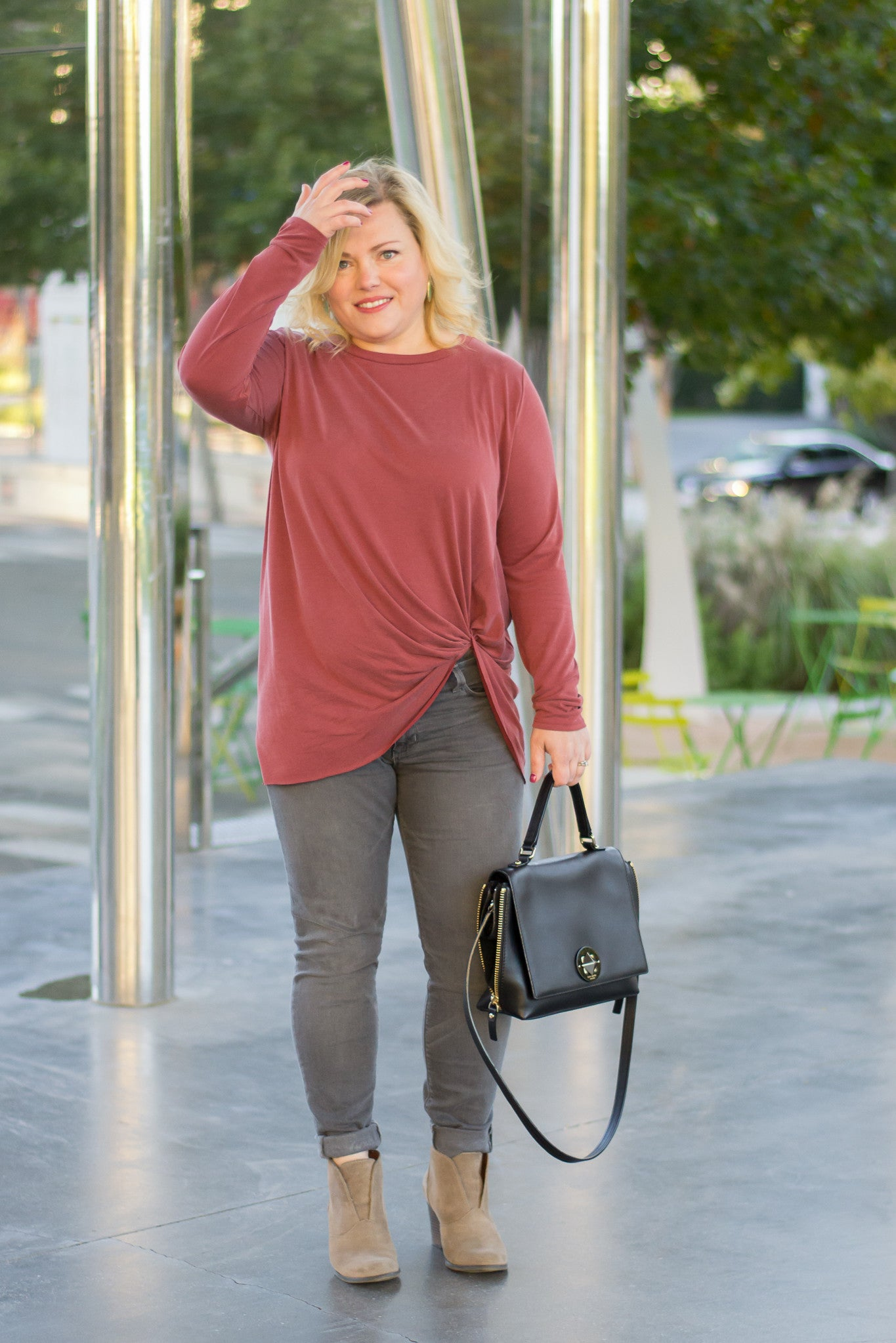 Basic Fall Long Sleeve Top with Knotted Side