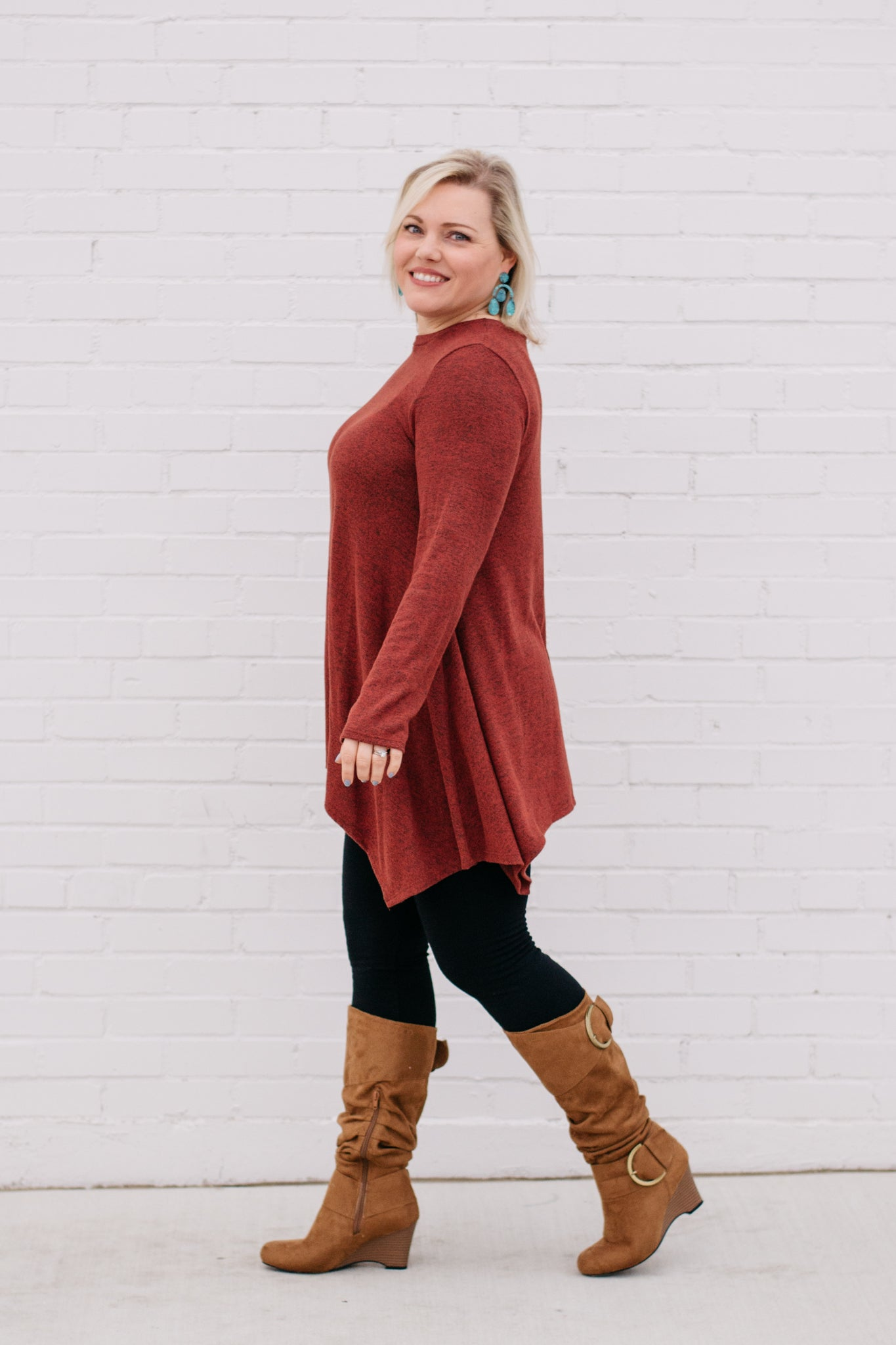 Long Sleeve Asymmetrical Tunic in Rust