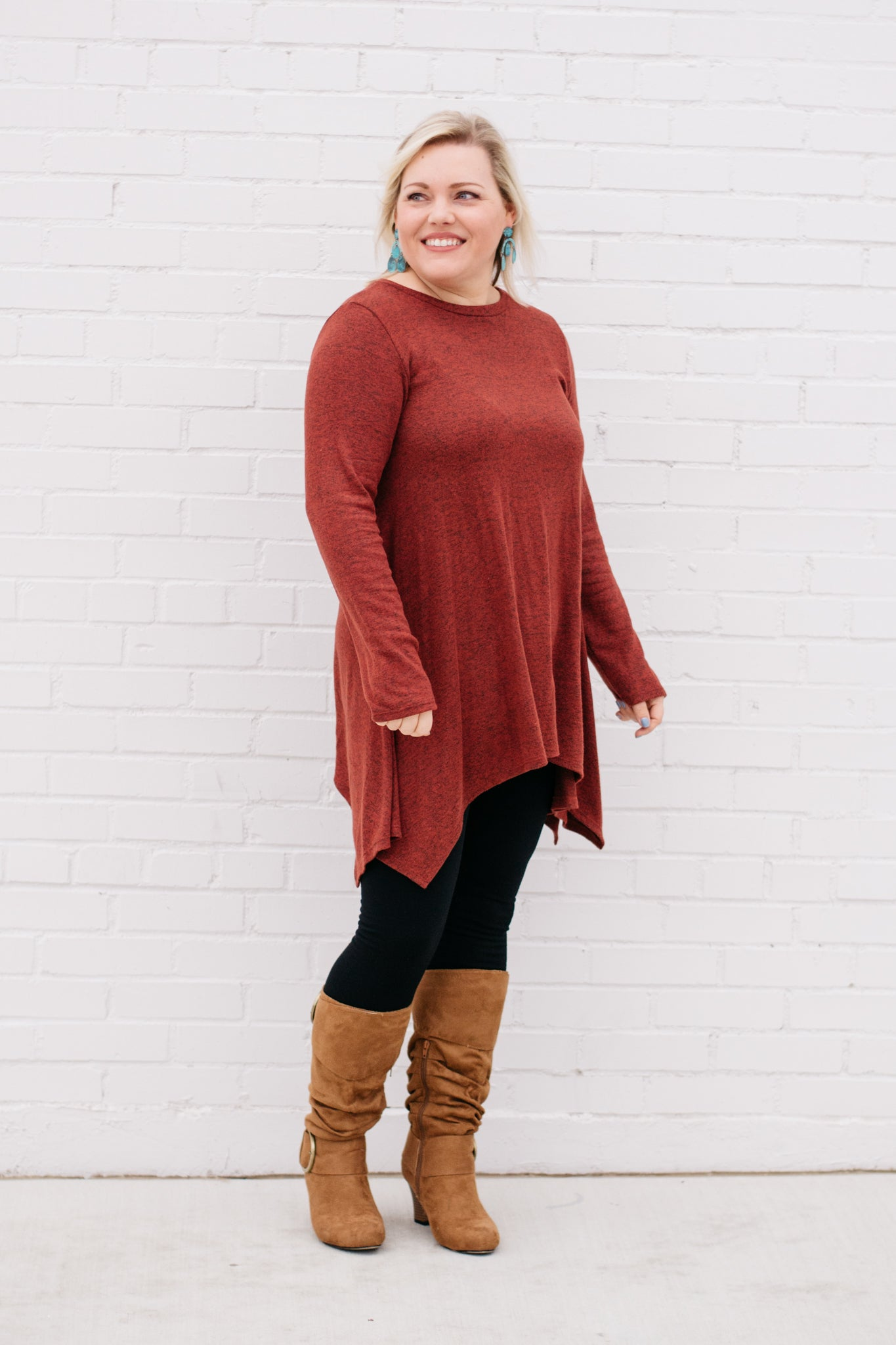 Women's Long Sleeve Rust Colored Tunic