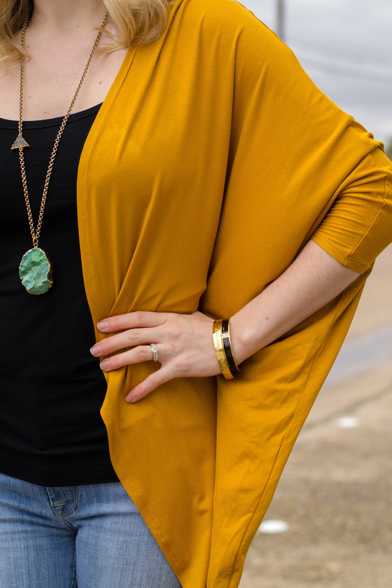 Mustard Cardigan and Long Necklace