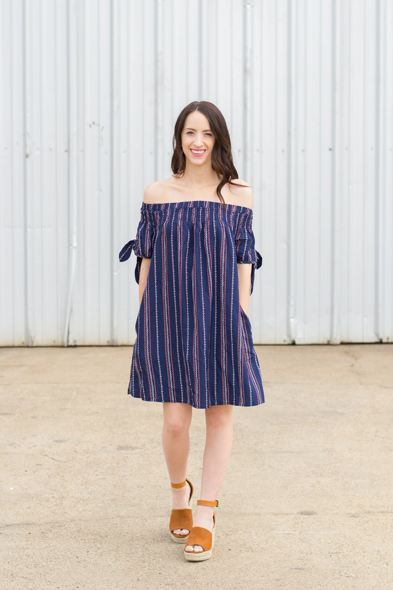 Navy OTS Dress with Tie Sleeves