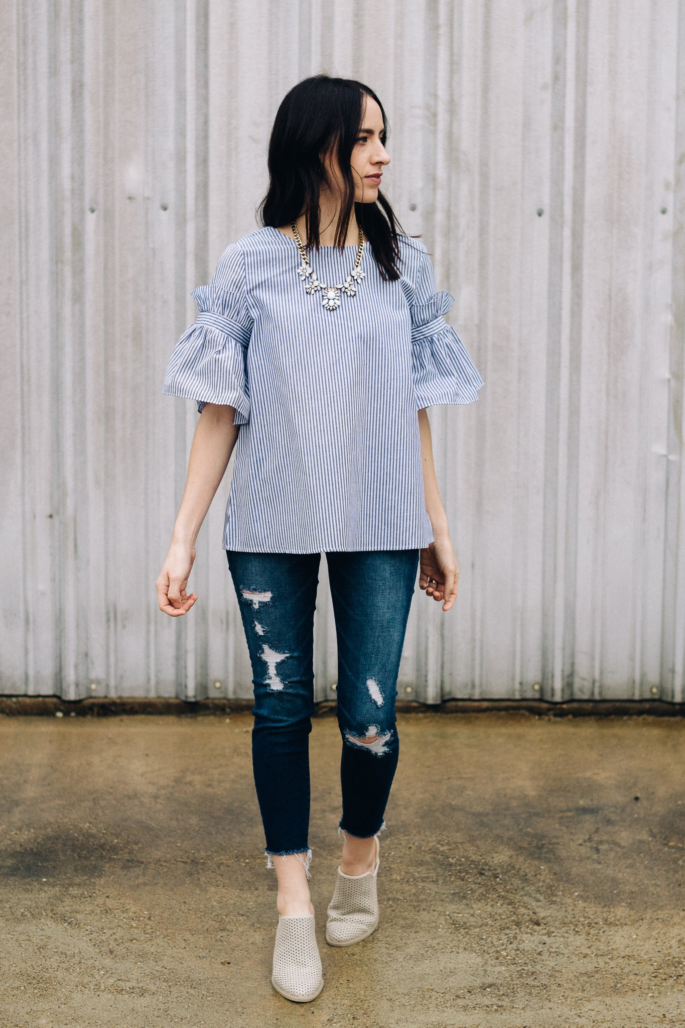 Striped Ruffle Sleeve Top with Distressed Denim and Mules