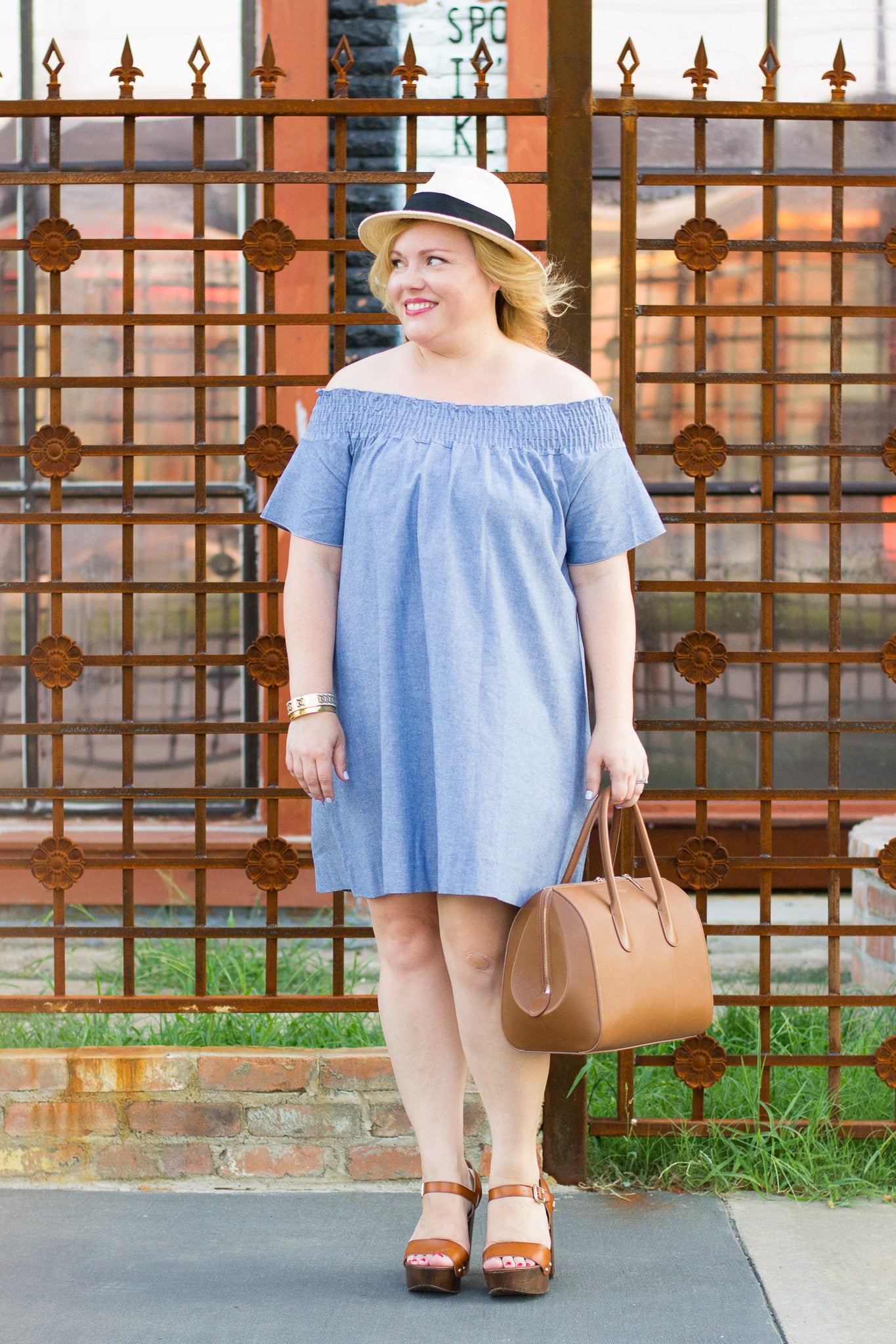 Off_the_Shoulder_Dress_and_Fedora