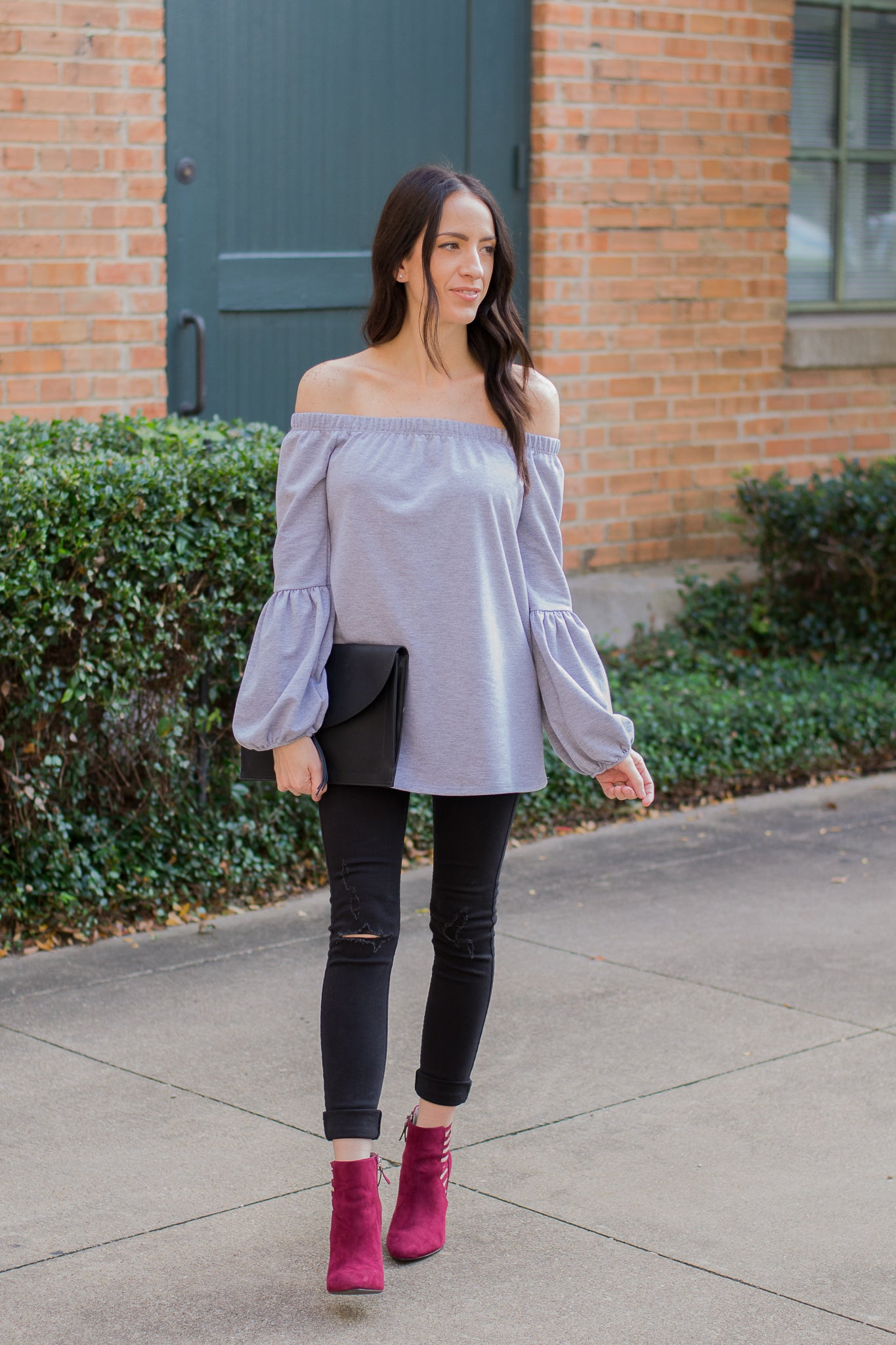 Gray Off the Shoulder Sweater with Balloon Sleeves
