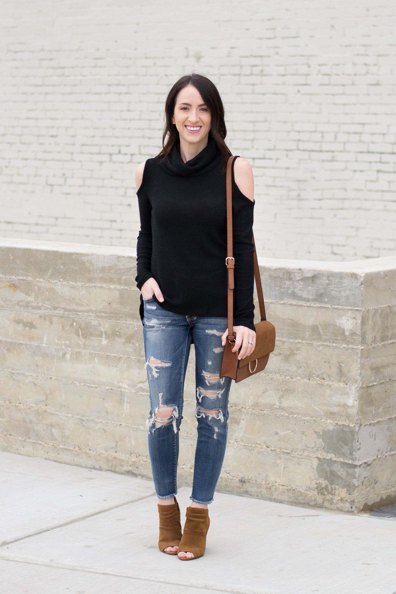 How to Style a Black Open Shoulder Top