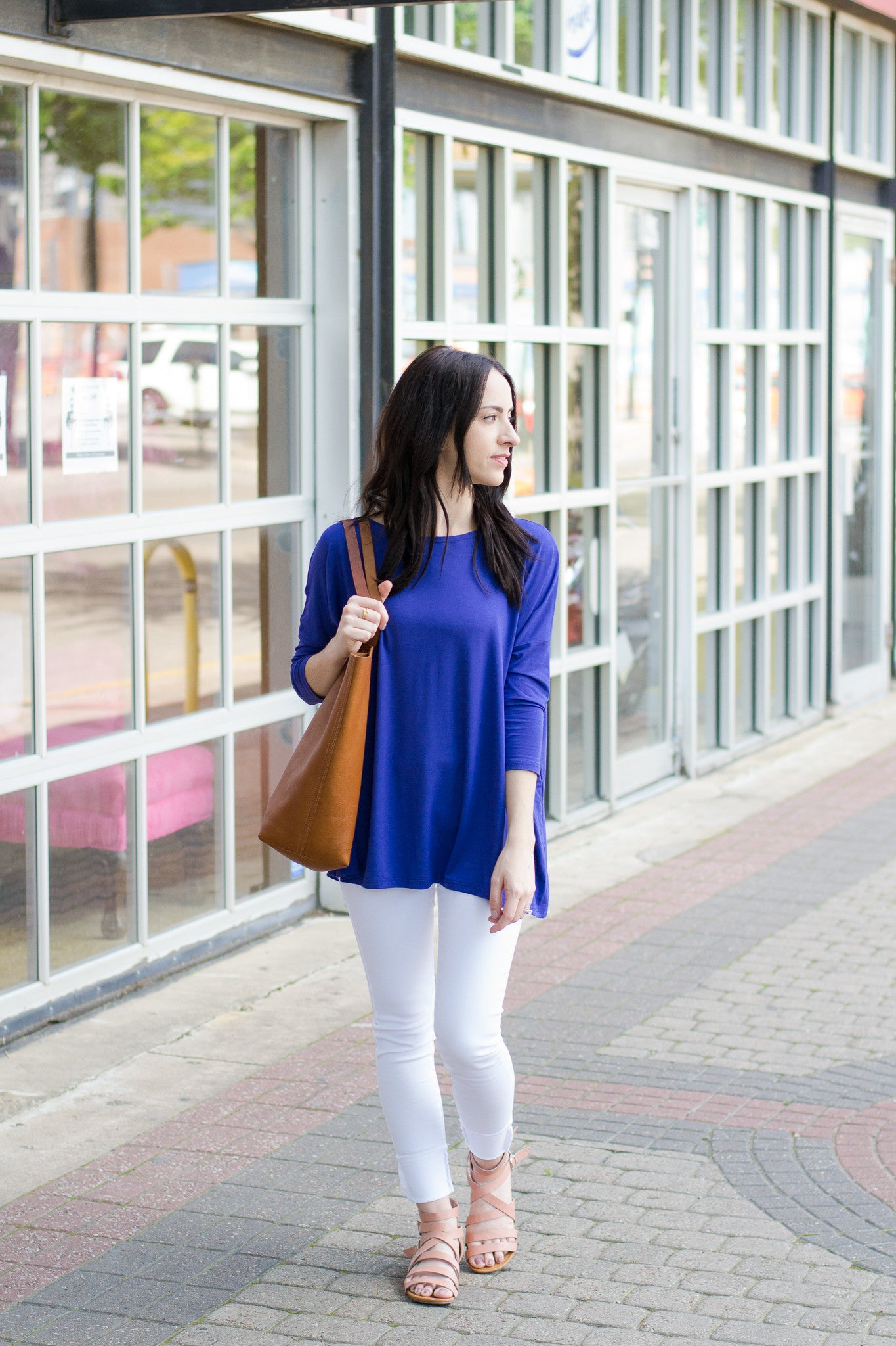 Piko top paired with white skinny jeans