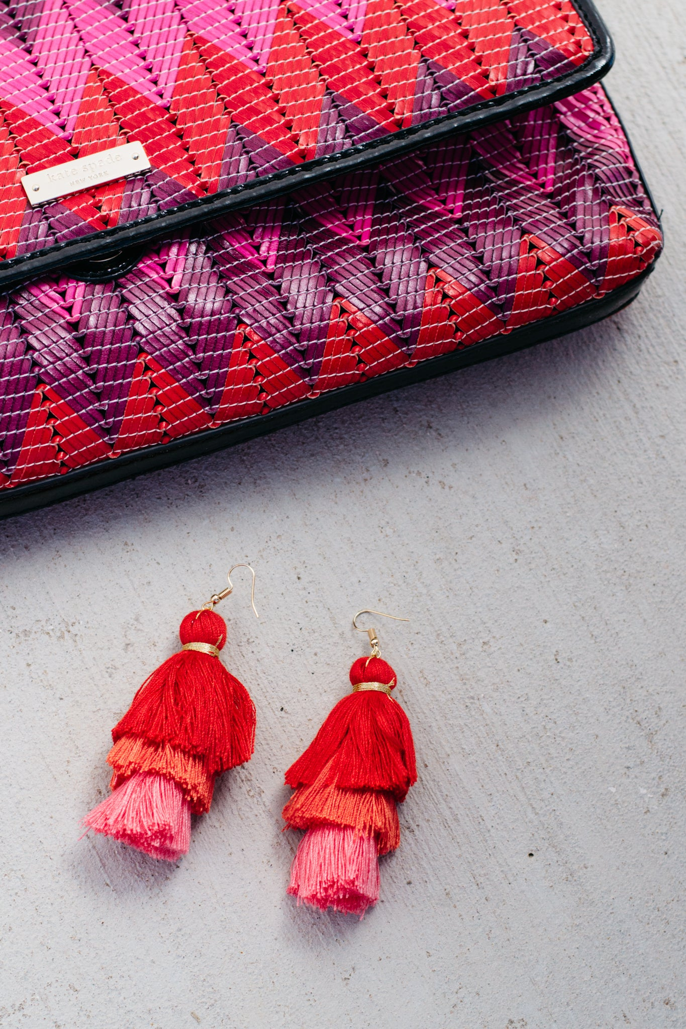 Red to Pink Ombre Tassel Earrings