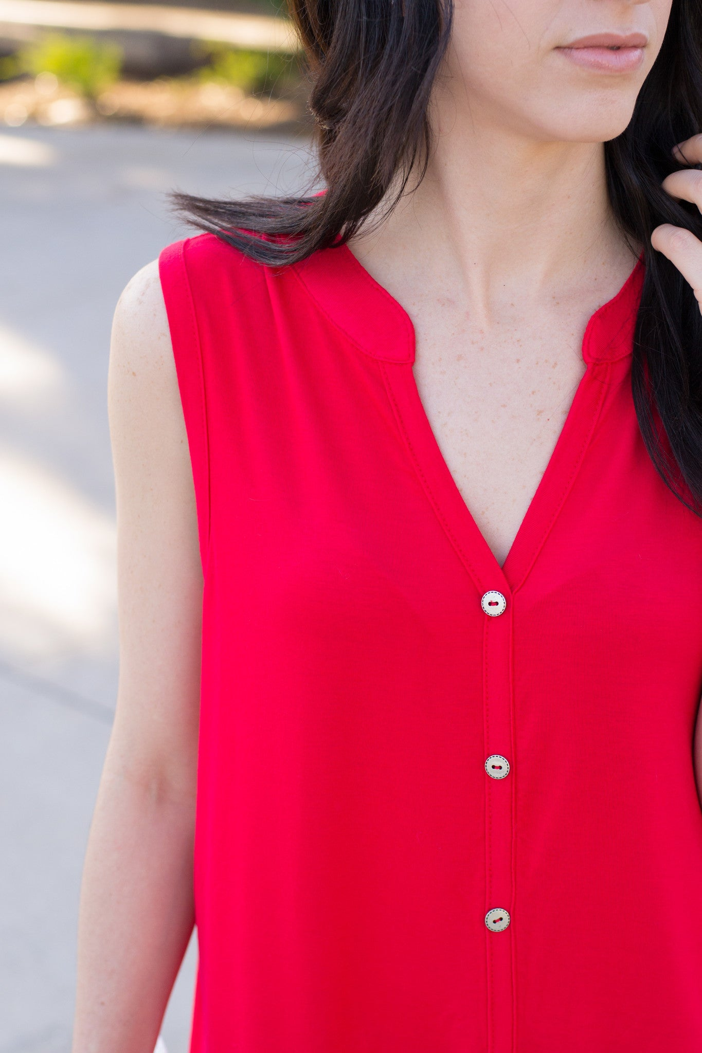 Coral tank with faux button detail