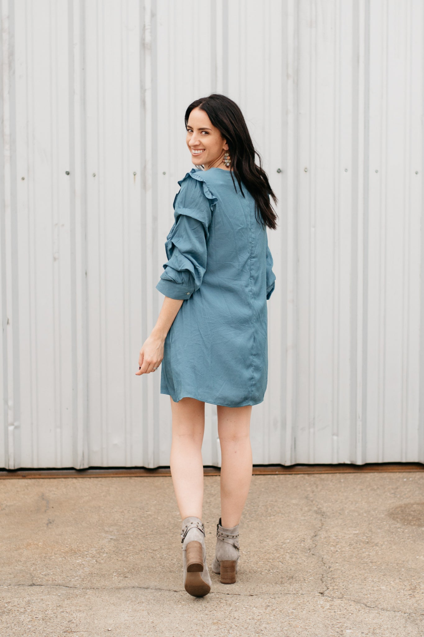 Silk Dress with Ruffle Sleeve