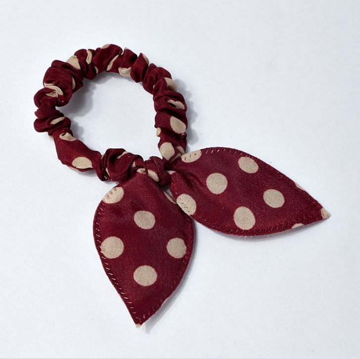 NEW BURGUNDY POLKA DOT HAIR TIE