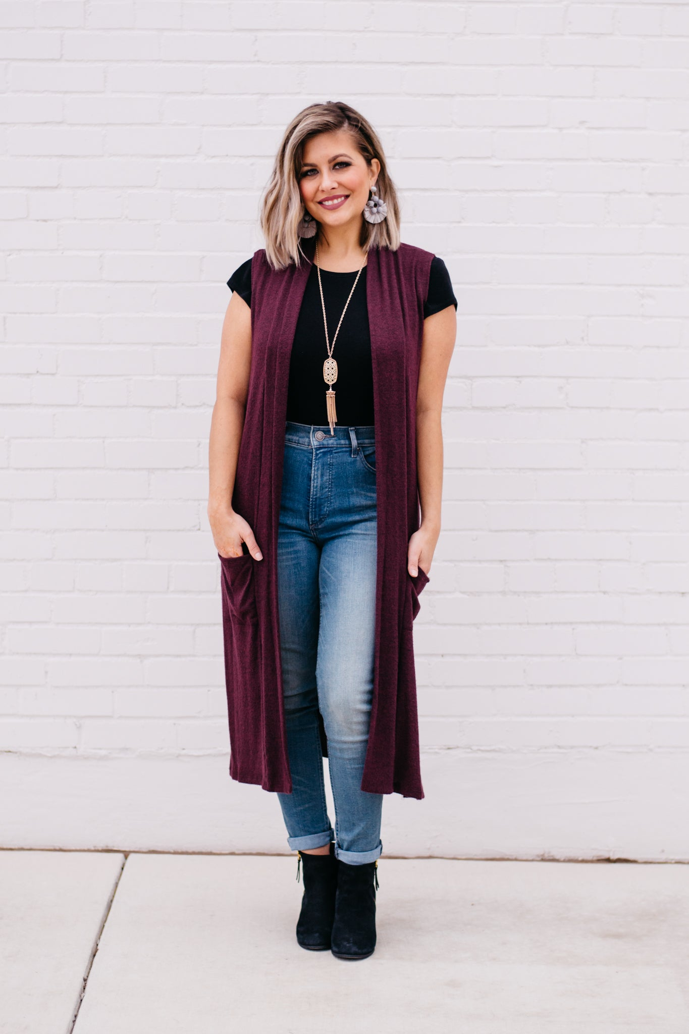 Sleeveless Long Vest with Pockets