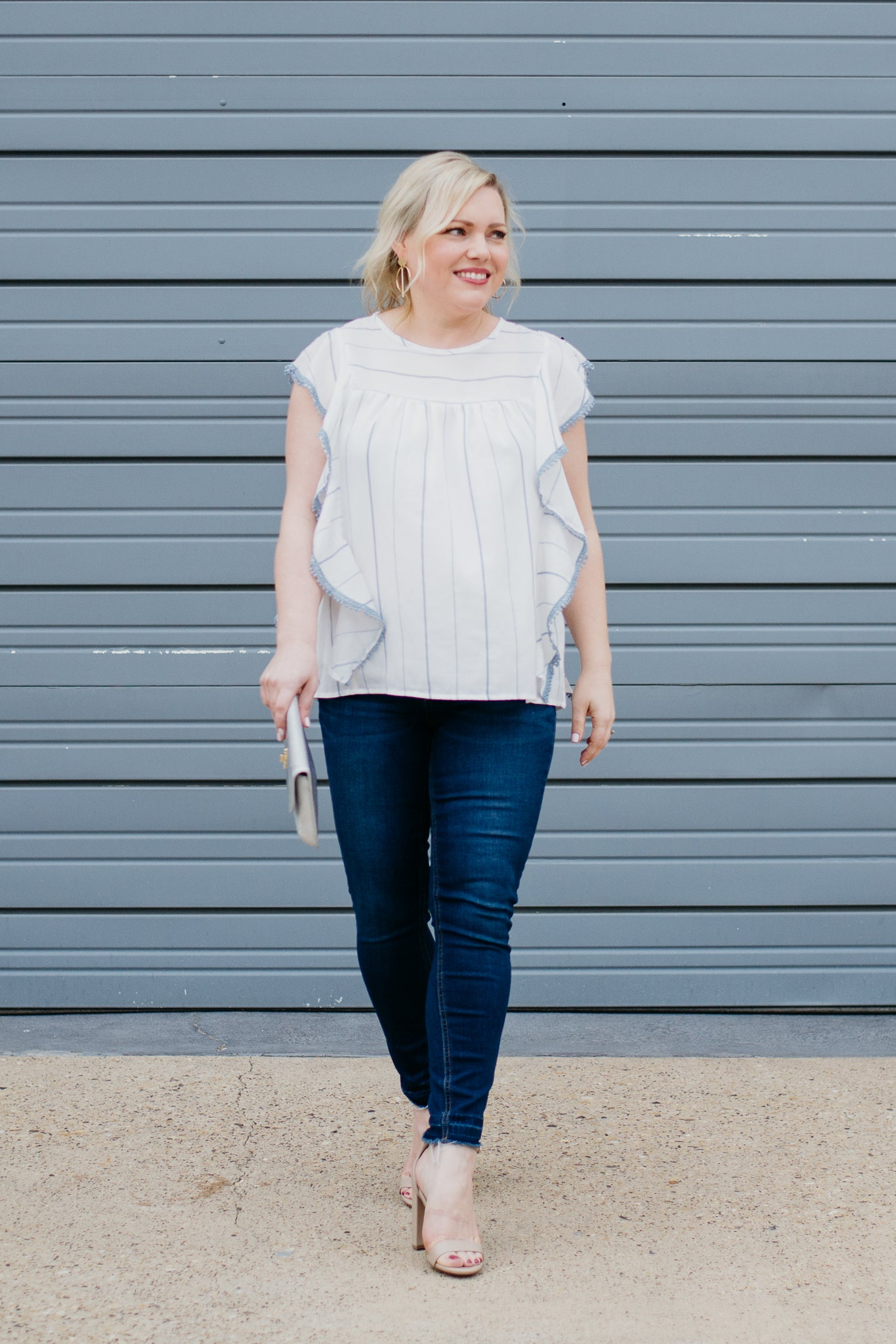 White and Blue Ruffle Front Top