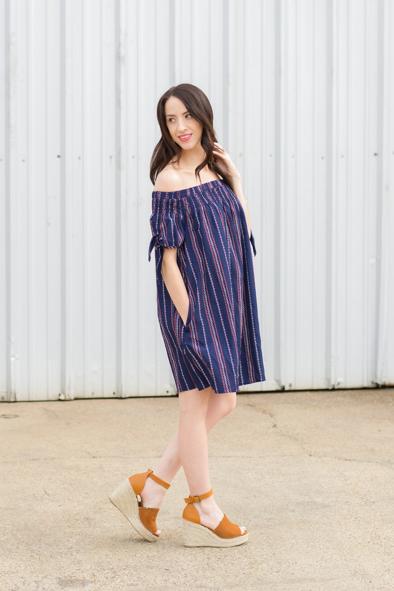Navy Striped Off the Shoulder Dress for Summer