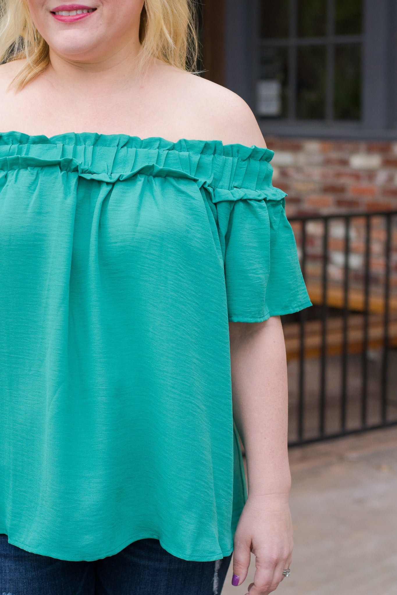 Off the Shoulder Top with Ruffle Detail