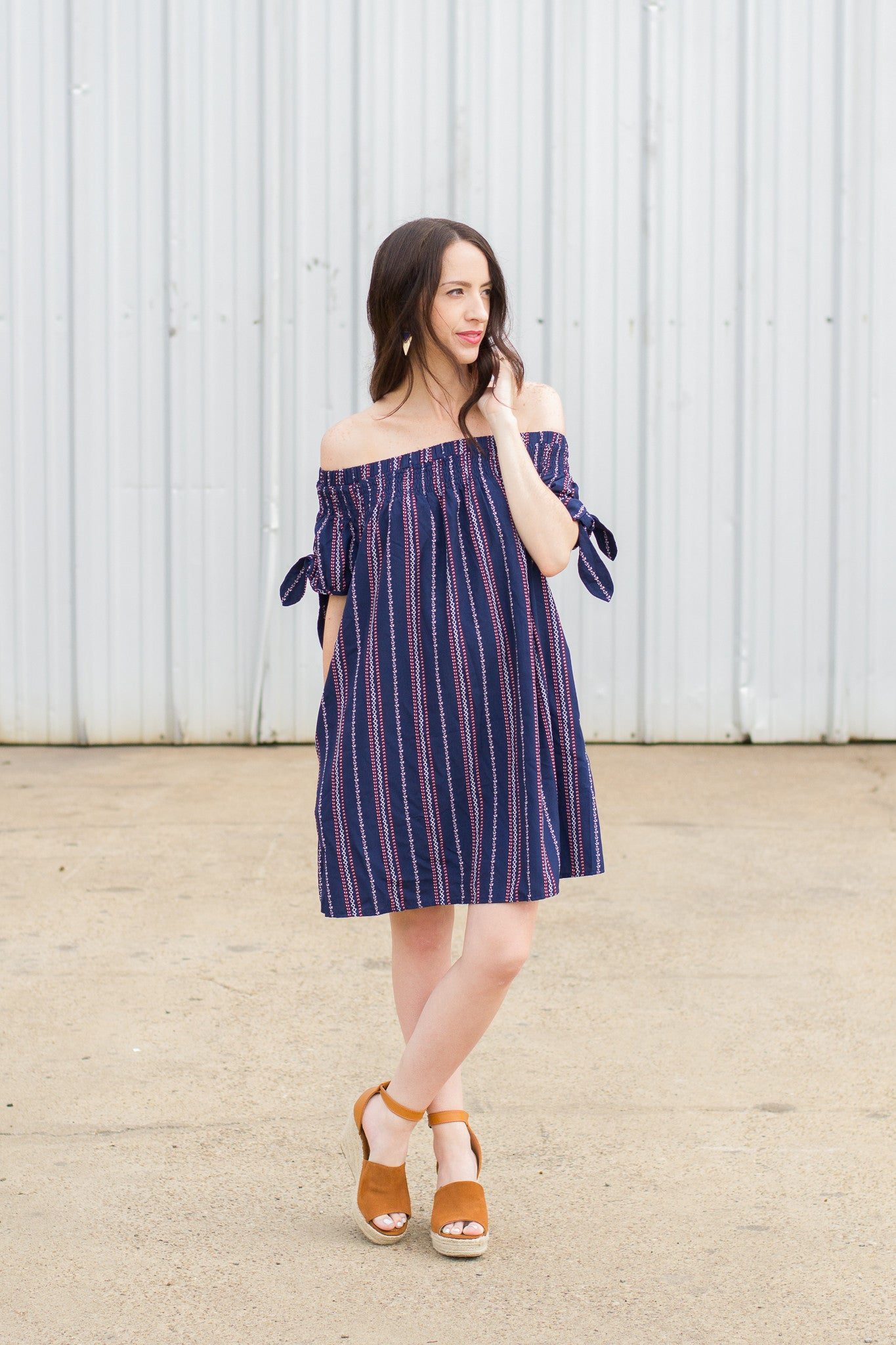 Navy OTS Dress paired with Cognac Espradilles Wedges