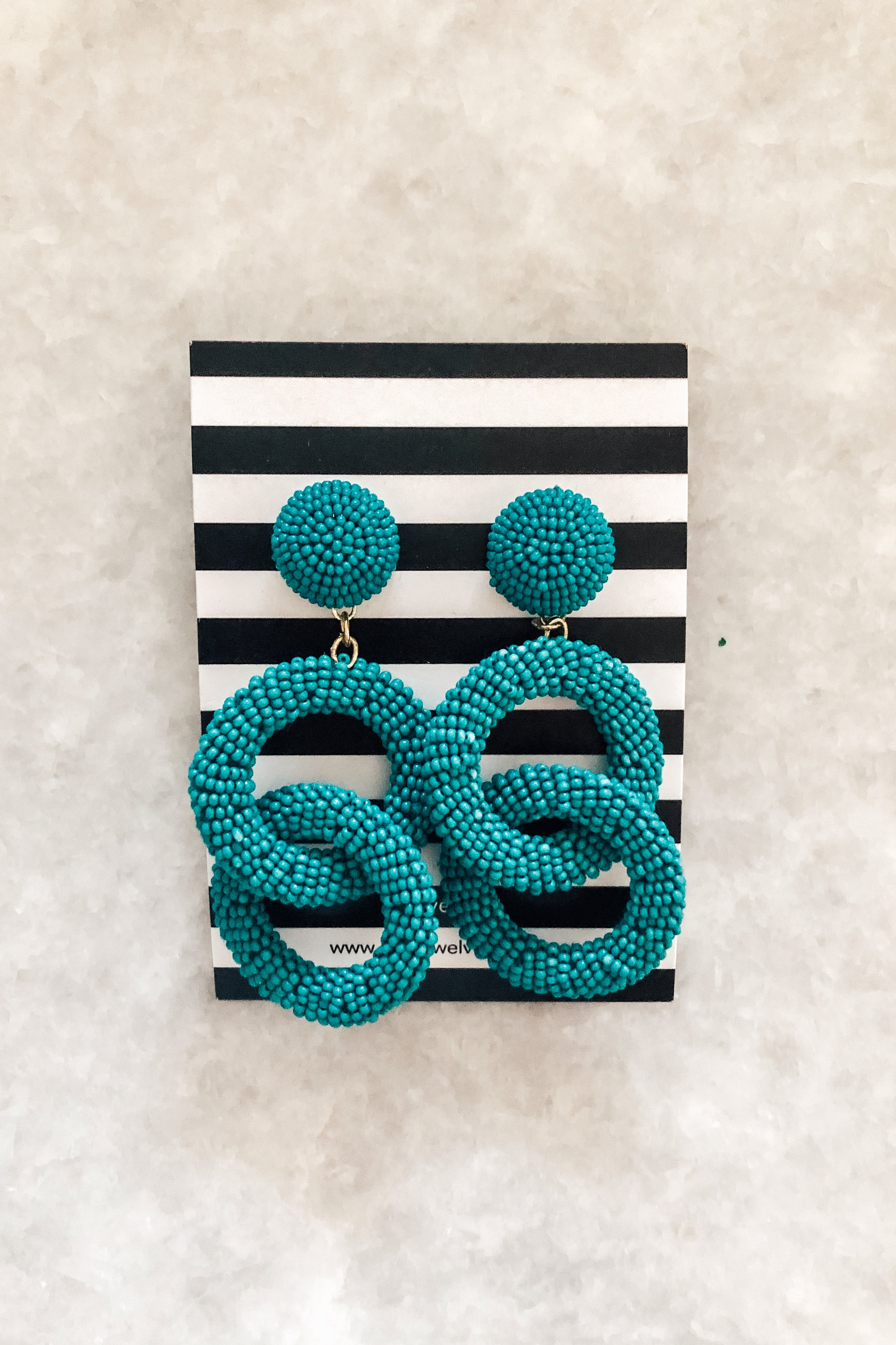 Beaded turquoise double circle earrings